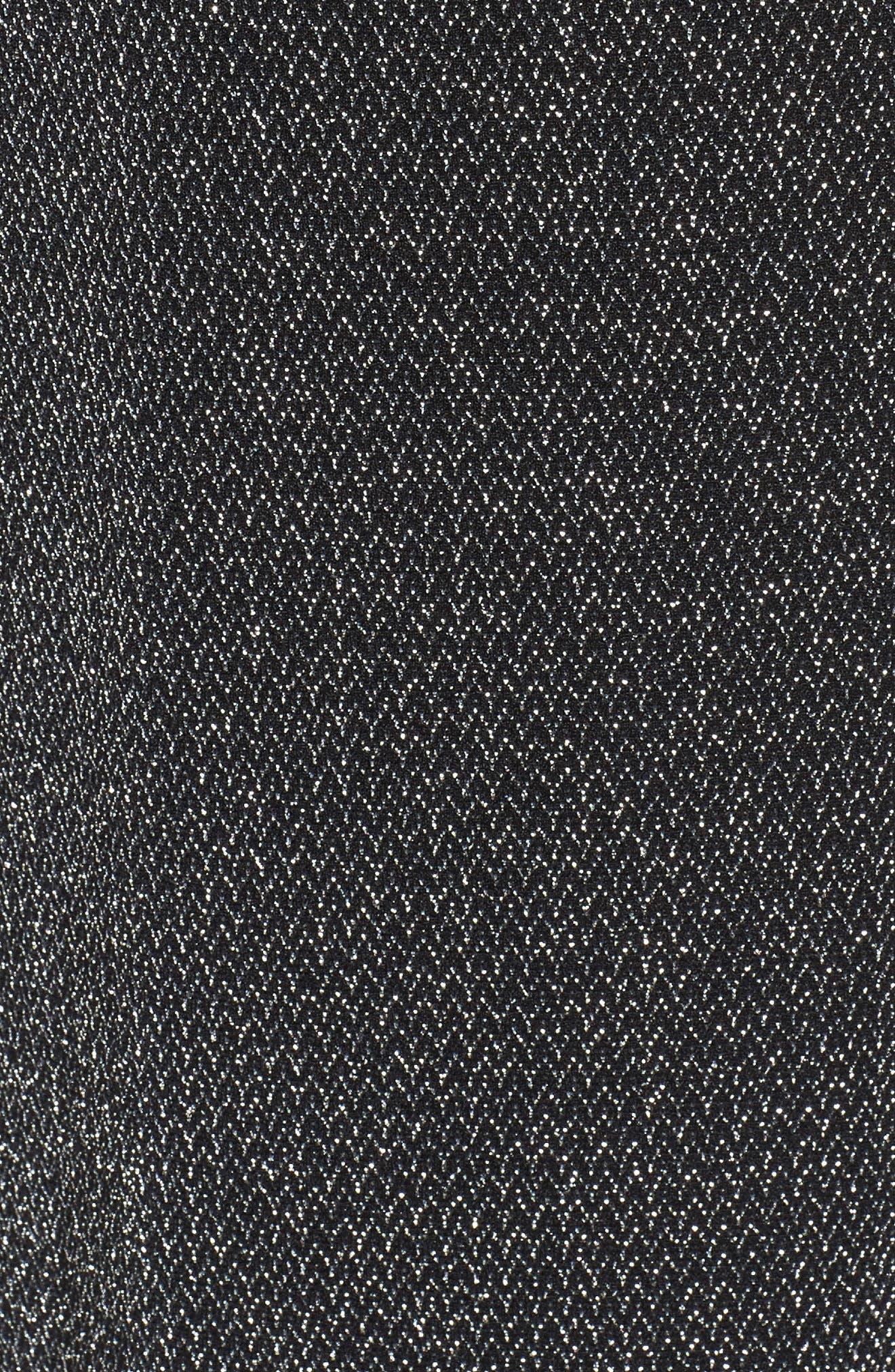 Metallic Knit Jumpsuit,                             Alternate thumbnail 5, color,                             Black/ Silver