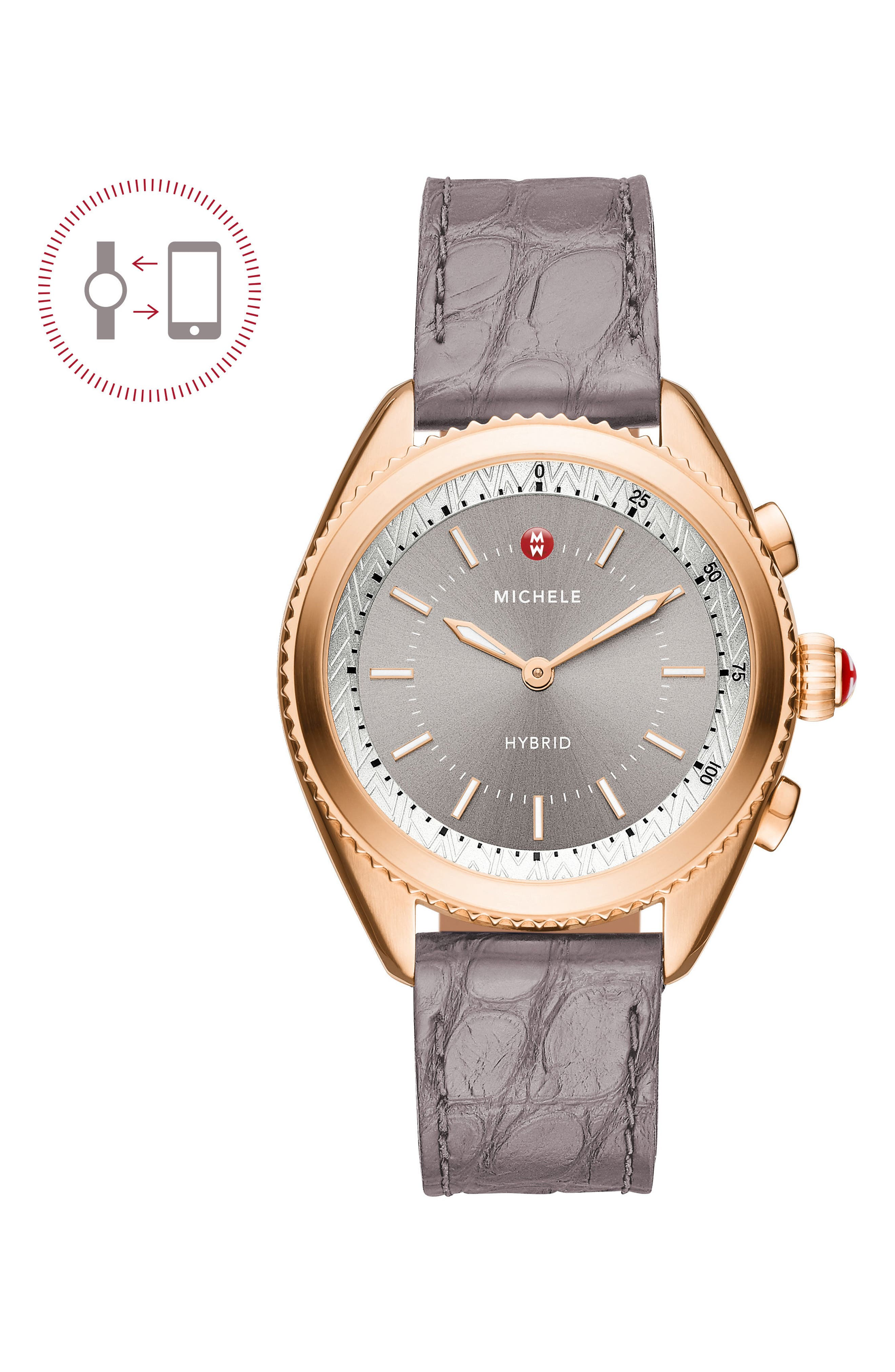 Hybrid Tracker Watch, 38mm,                         Main,                         color, Grey/ Rose Gold