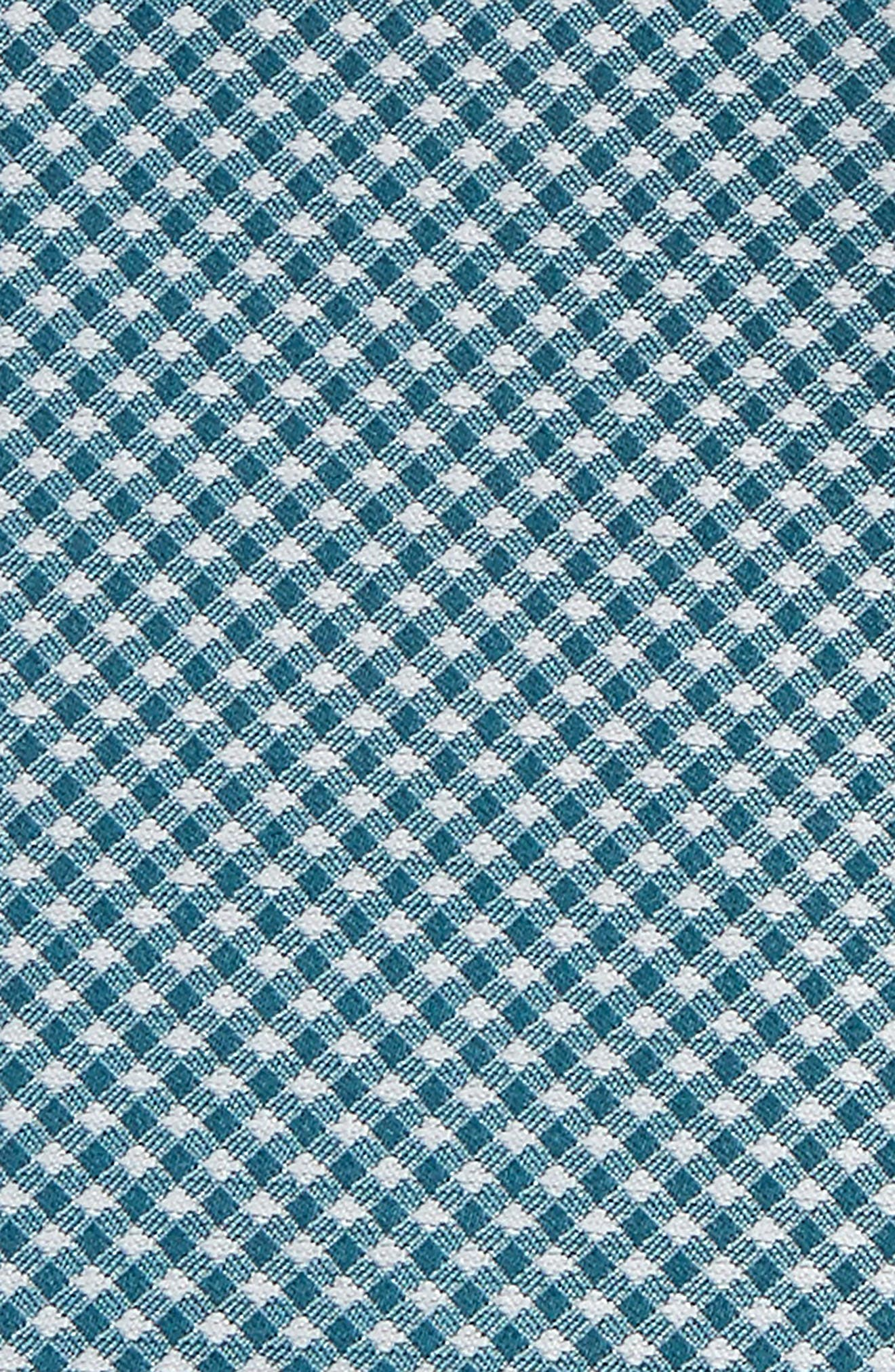 Check Silk Pocket Square,                             Alternate thumbnail 2, color,                             Teal