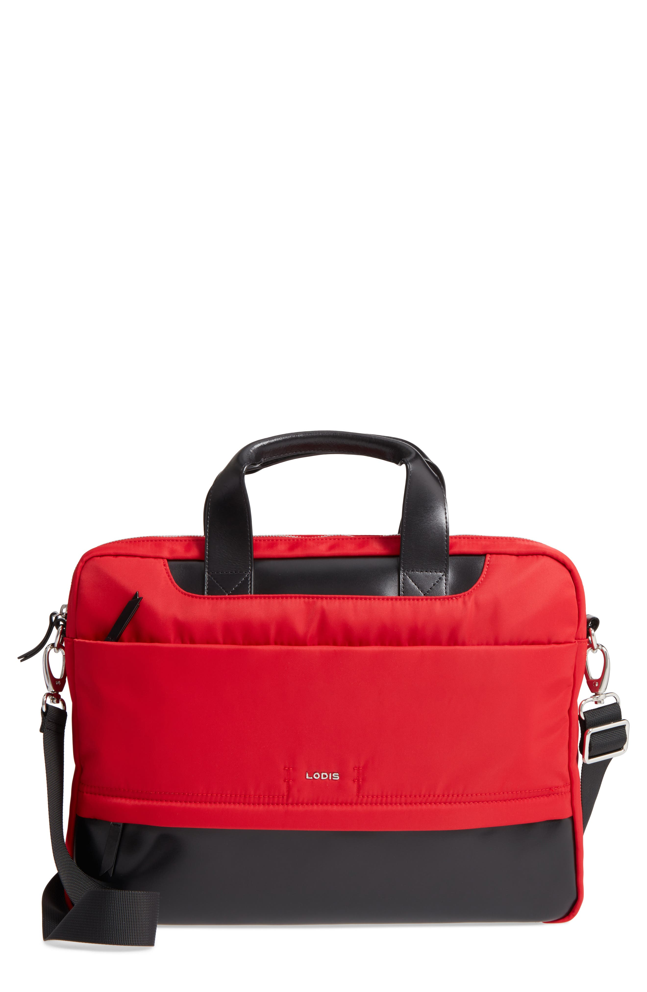 Kate Under Lock & Key Alexus Nylon & Leather Briefcase,                             Main thumbnail 1, color,                             Red