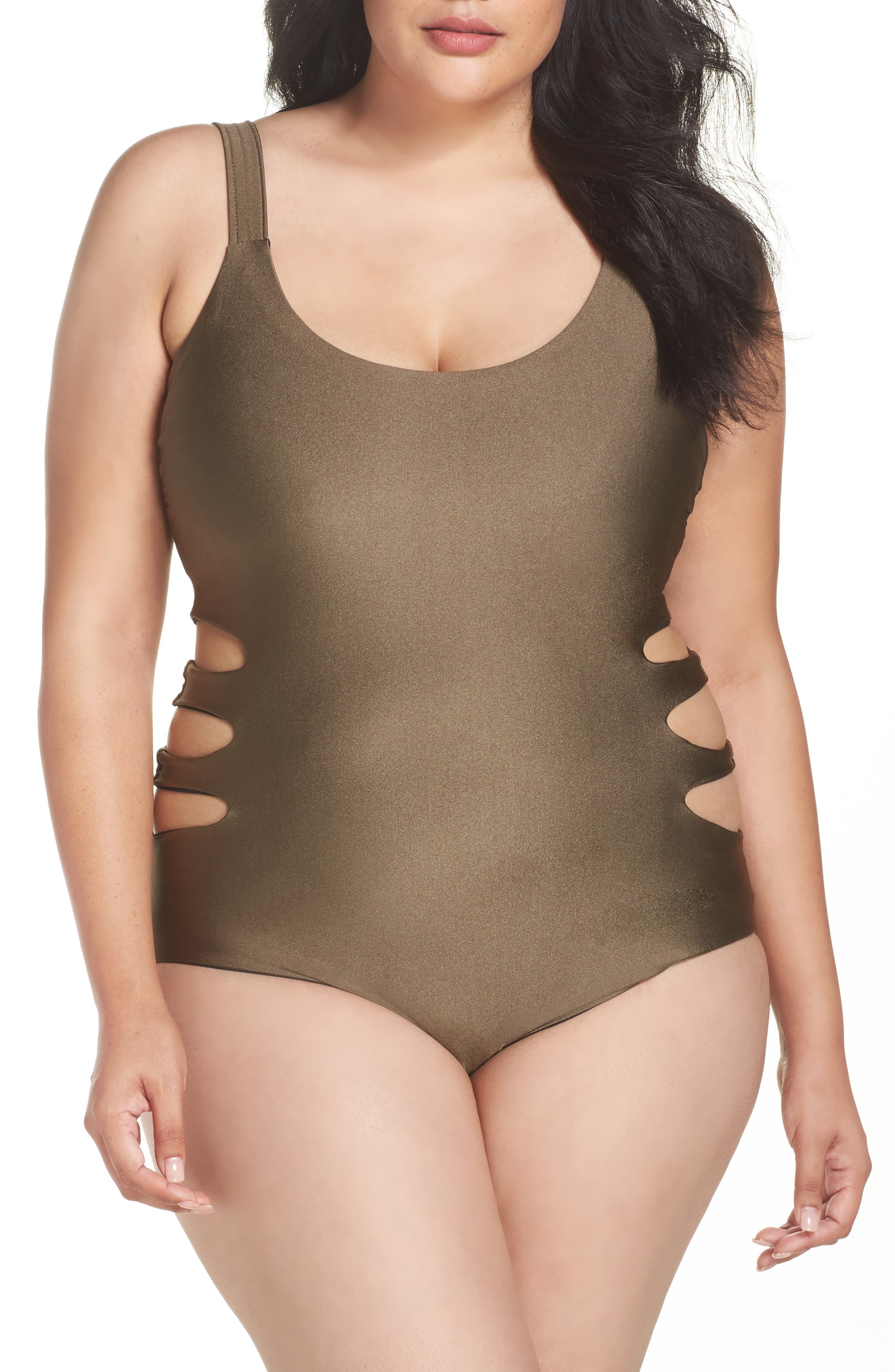 Becca Shimmer Reversible One-Piece Swimsuit,                             Alternate thumbnail 2, color,                             Mink/ Black