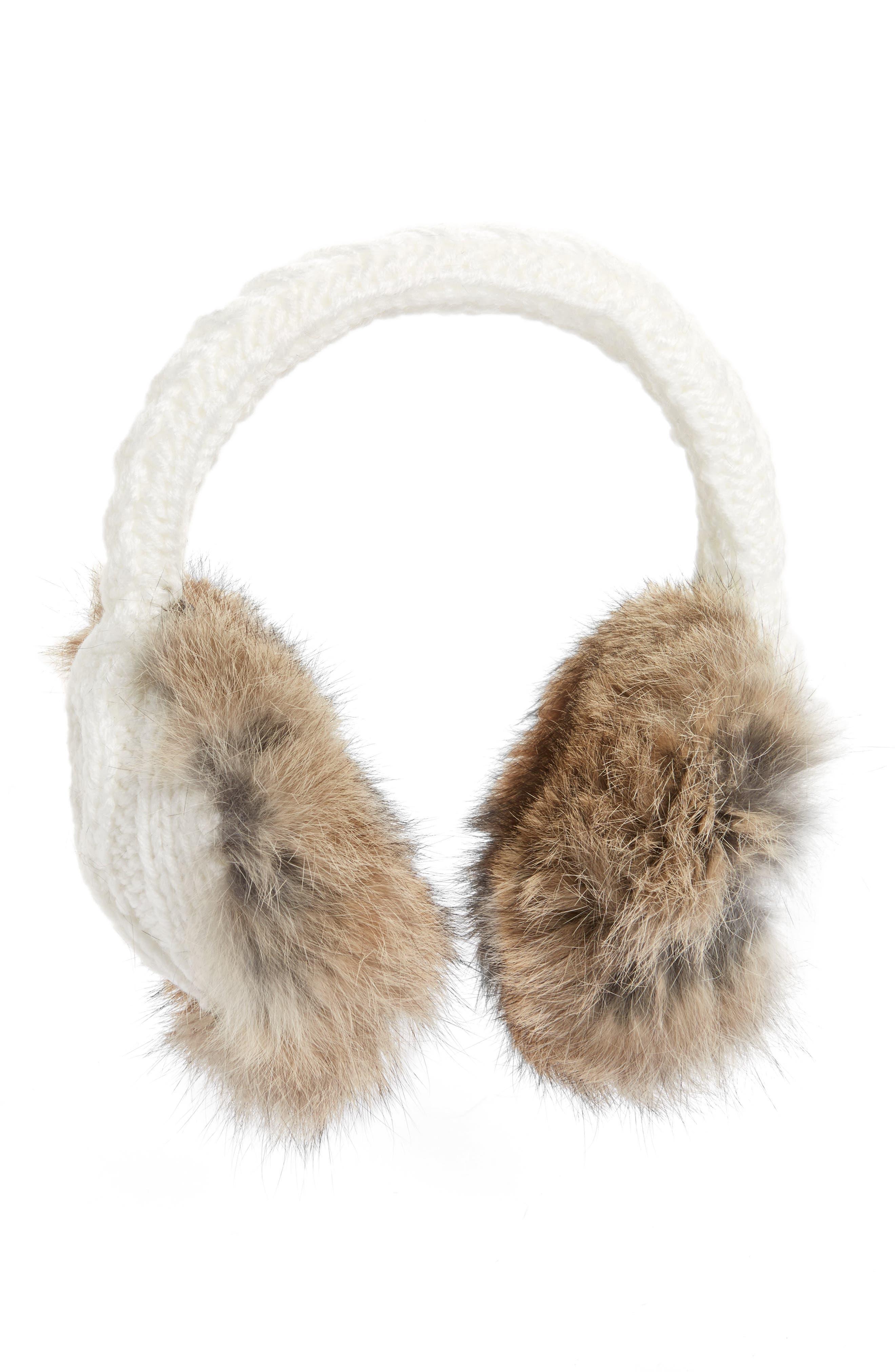 Vincent Pradier Genuine Rabbit Fur & Cable Knit Earmuffs
