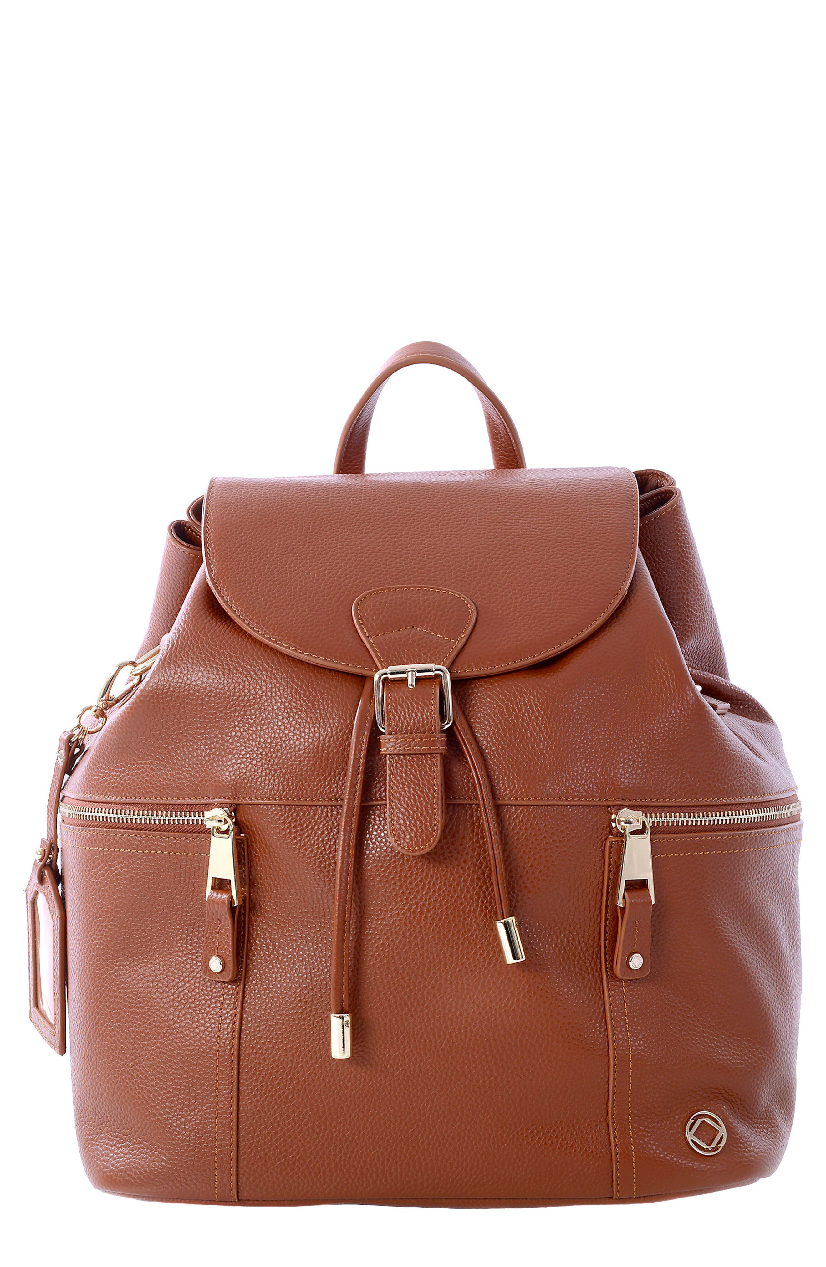 Thor Leather Backpack,                             Main thumbnail 1, color,                             Tan With Light Gold Hardware