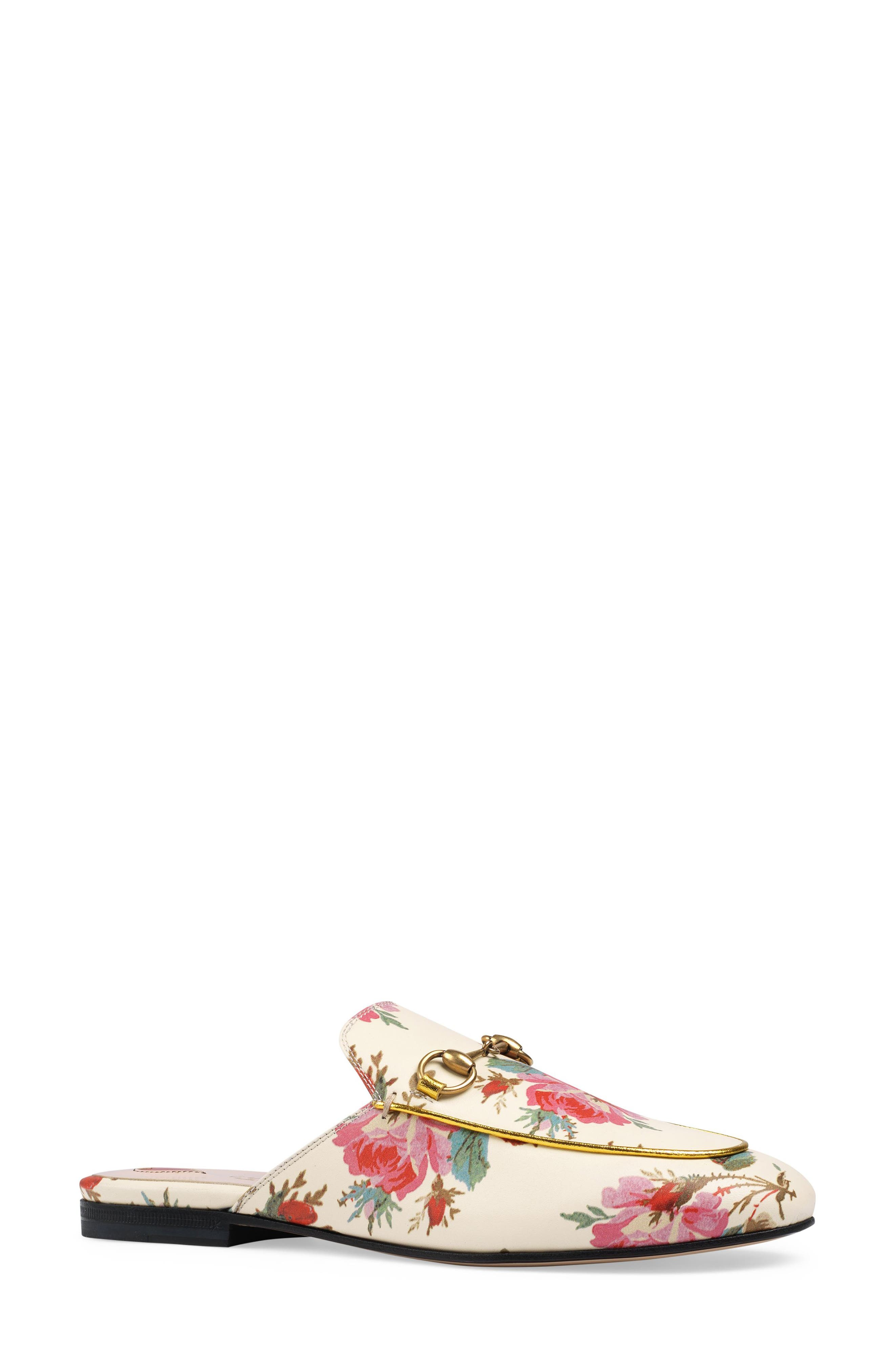 Alternate Image 1 Selected - Gucci Princetown Floral Loafer Mule (Women)