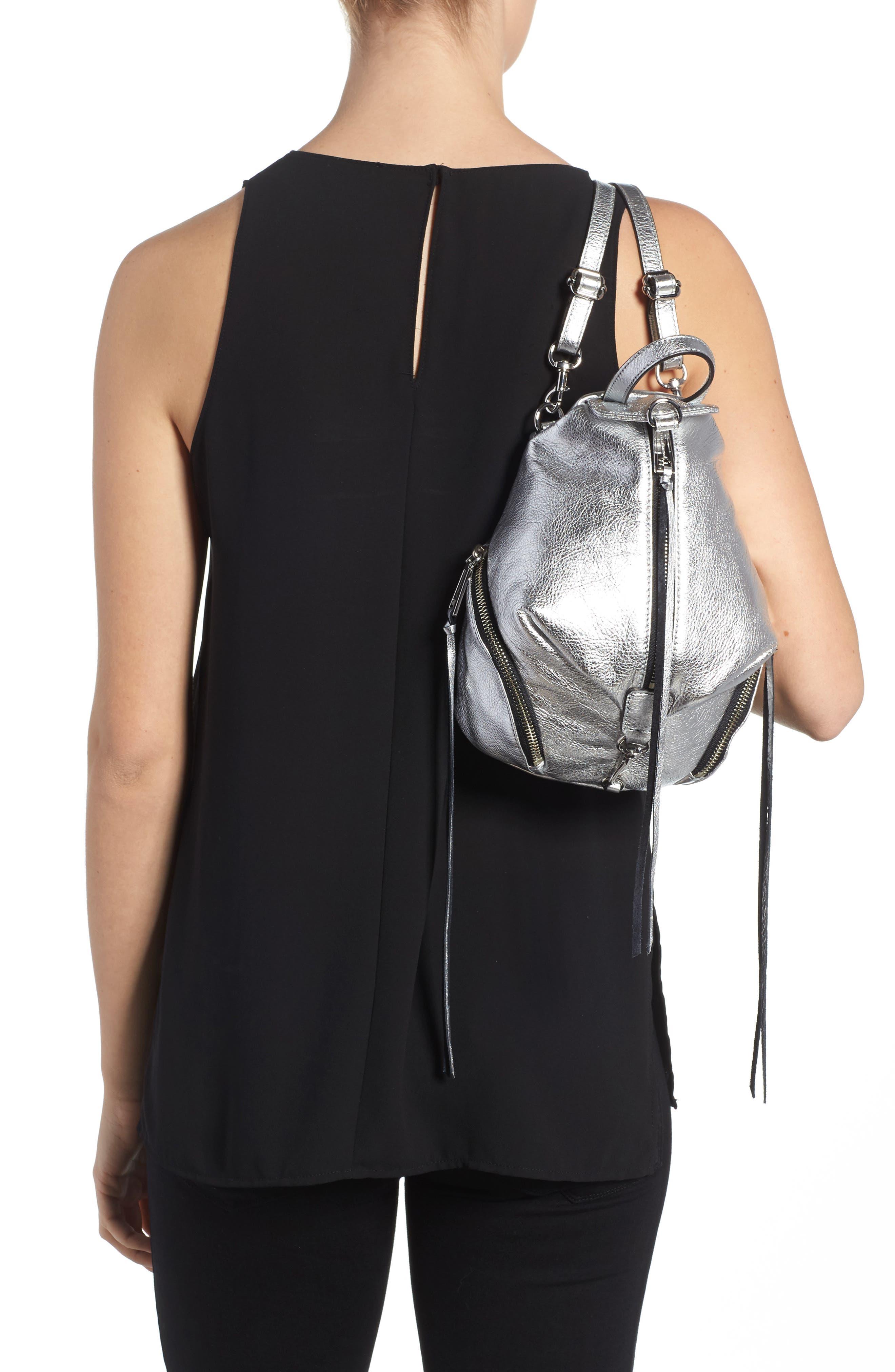 Alternate Image 2  - Rebecca Minkoff Mini Julian Metallic Leather Backpack