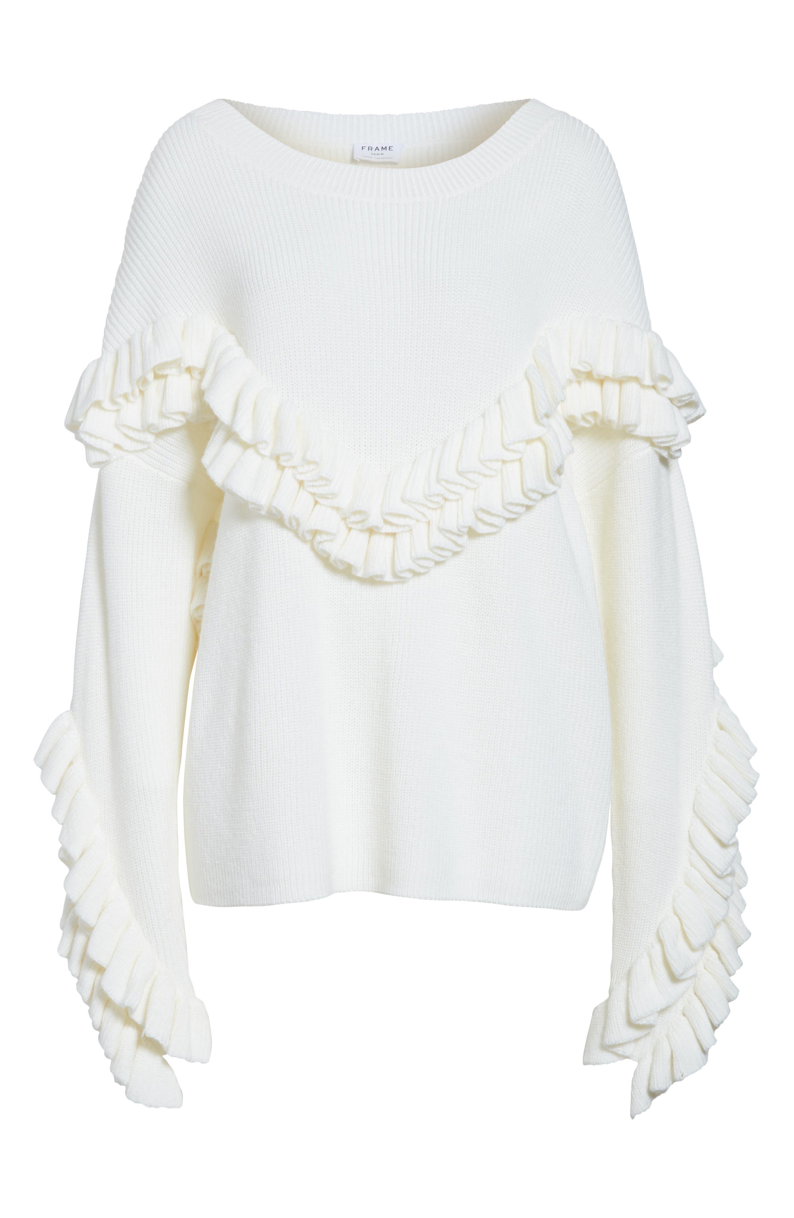 Alternate Image 6  - FRAME Ruffle Dolman Sweater