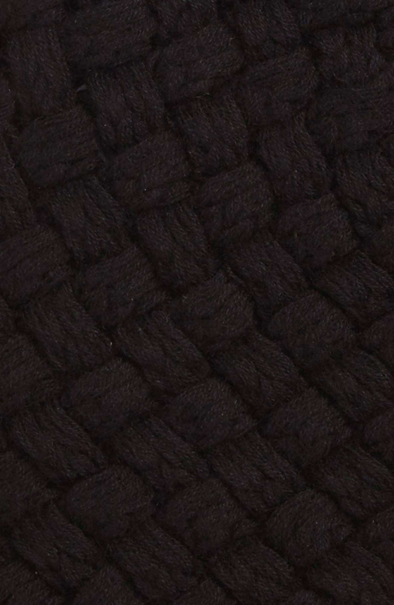Merino Wool Basket Stitch Beanie,                             Alternate thumbnail 2, color,                             Black
