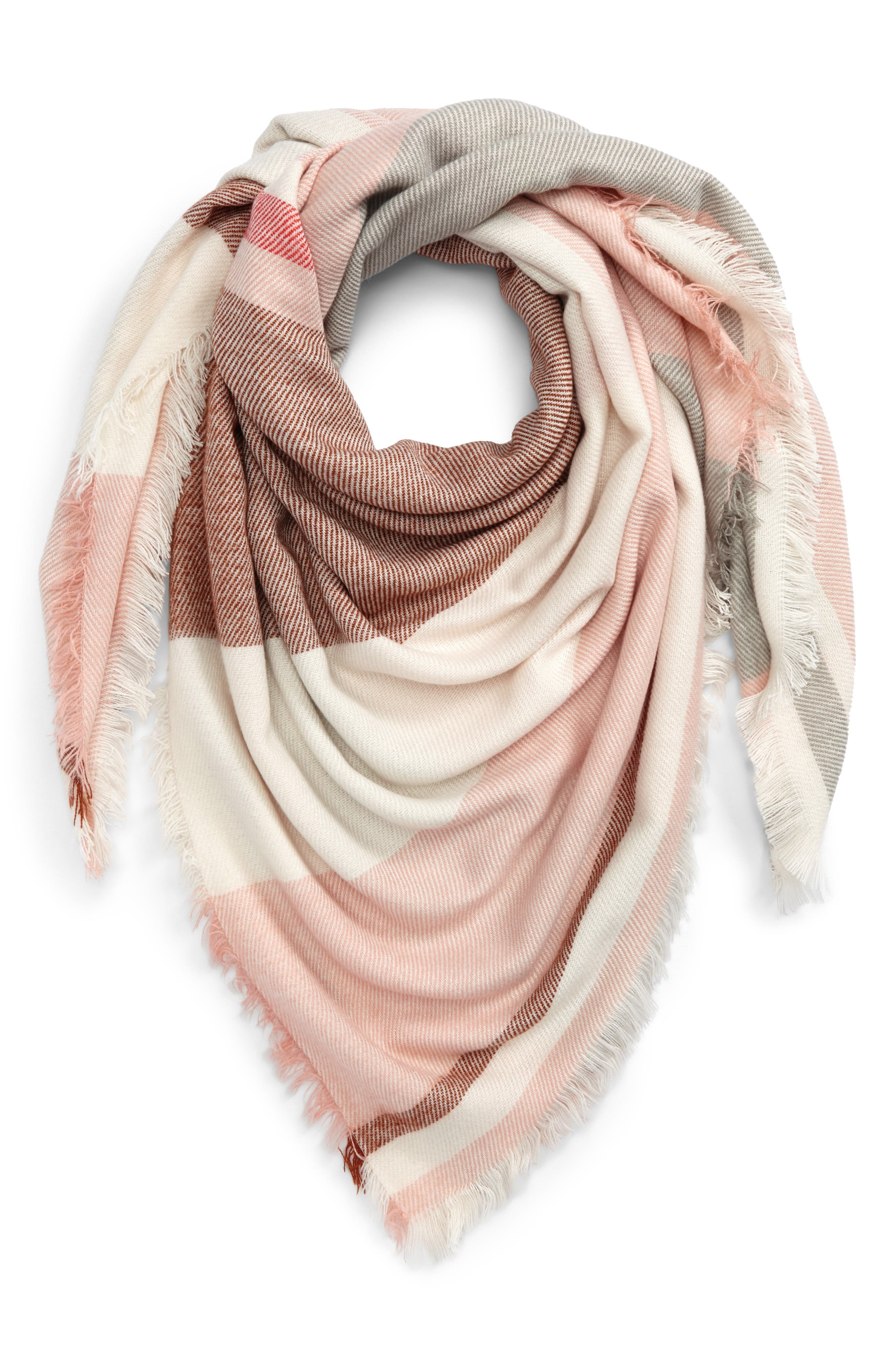 Colorblock Blanket Scarf,                             Alternate thumbnail 2, color,                             Cream/ Pink/ Bison
