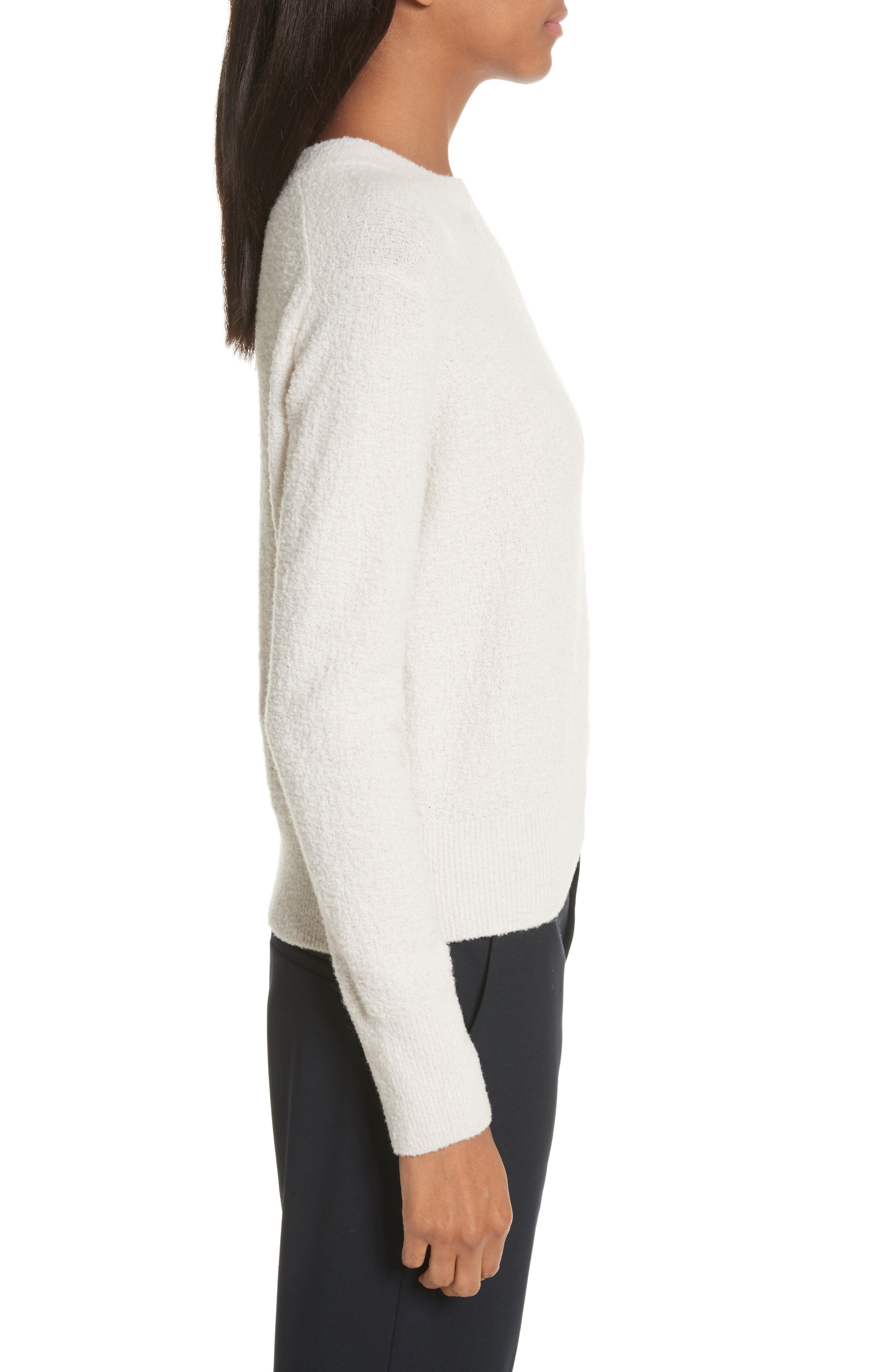 Crewneck Wool Blend Sweater,                             Alternate thumbnail 3, color,                             Off White