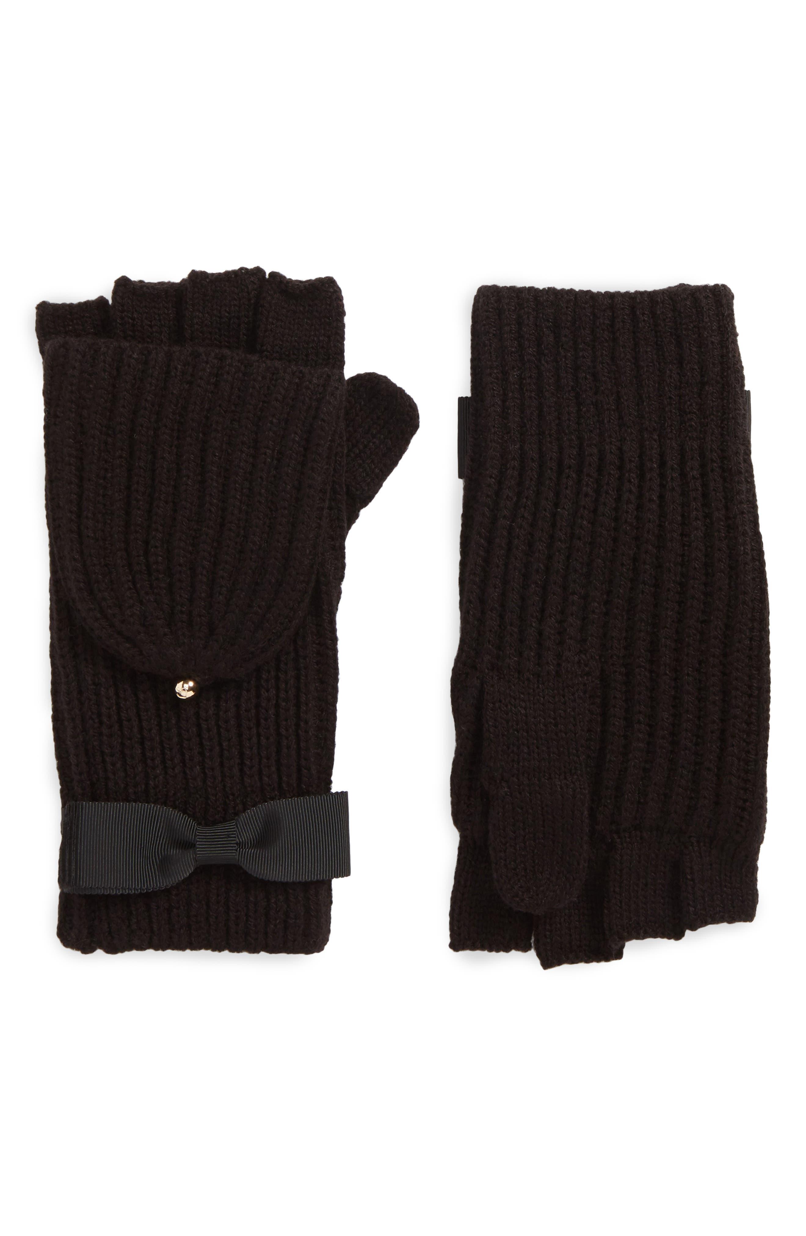 kate spade new york grosgrain bow convertible knit mittens