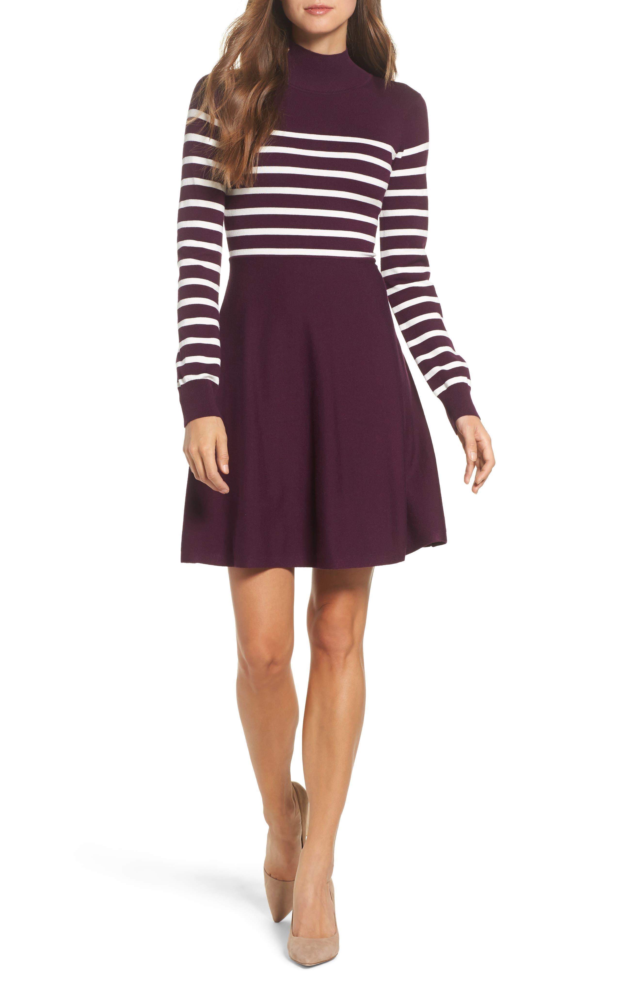 Stripe Mock Neck Fit & Flare Dress,                         Main,                         color, Wine