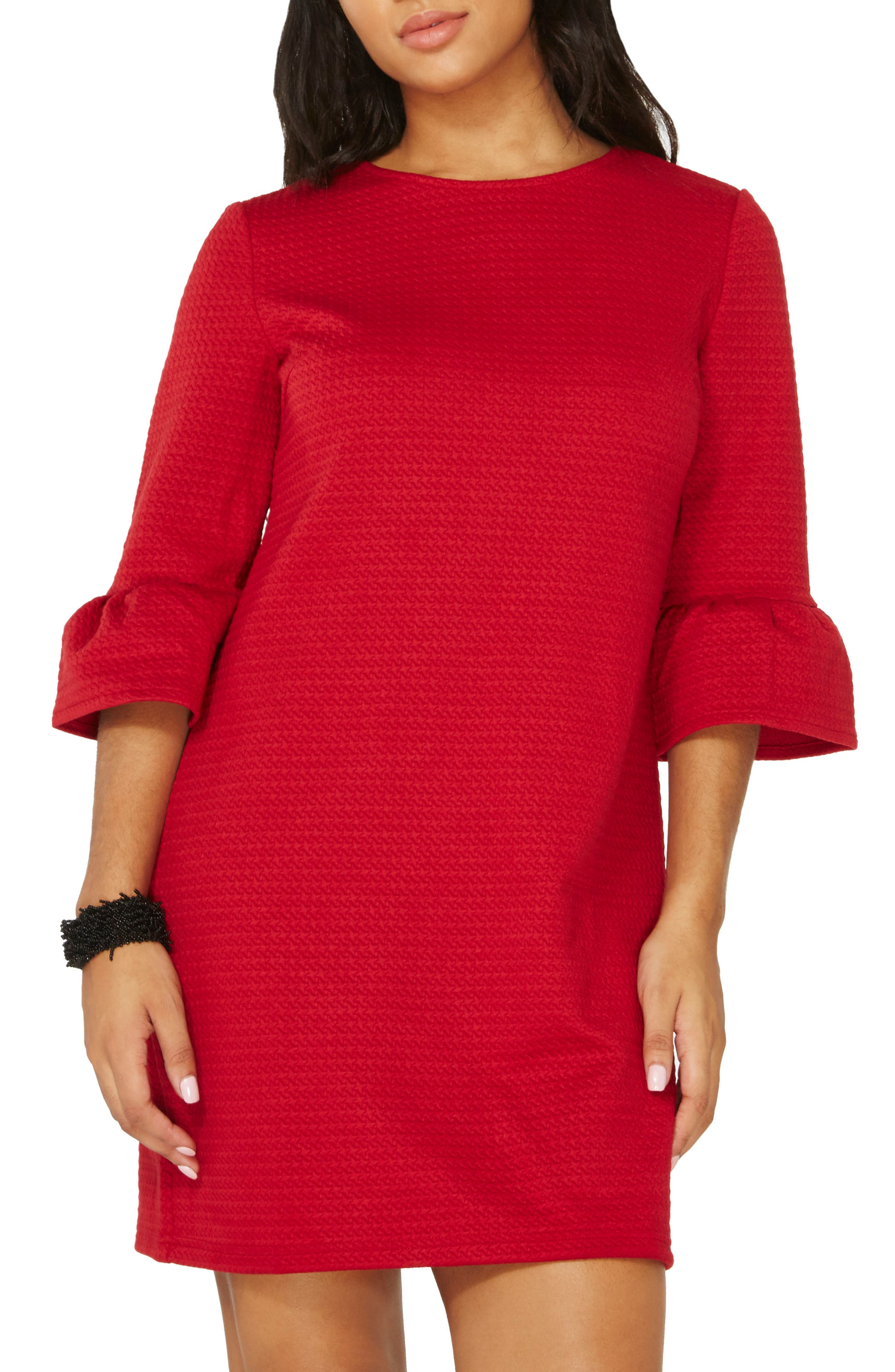 Ruffle Sleeve Shift Dress,                         Main,                         color, Red