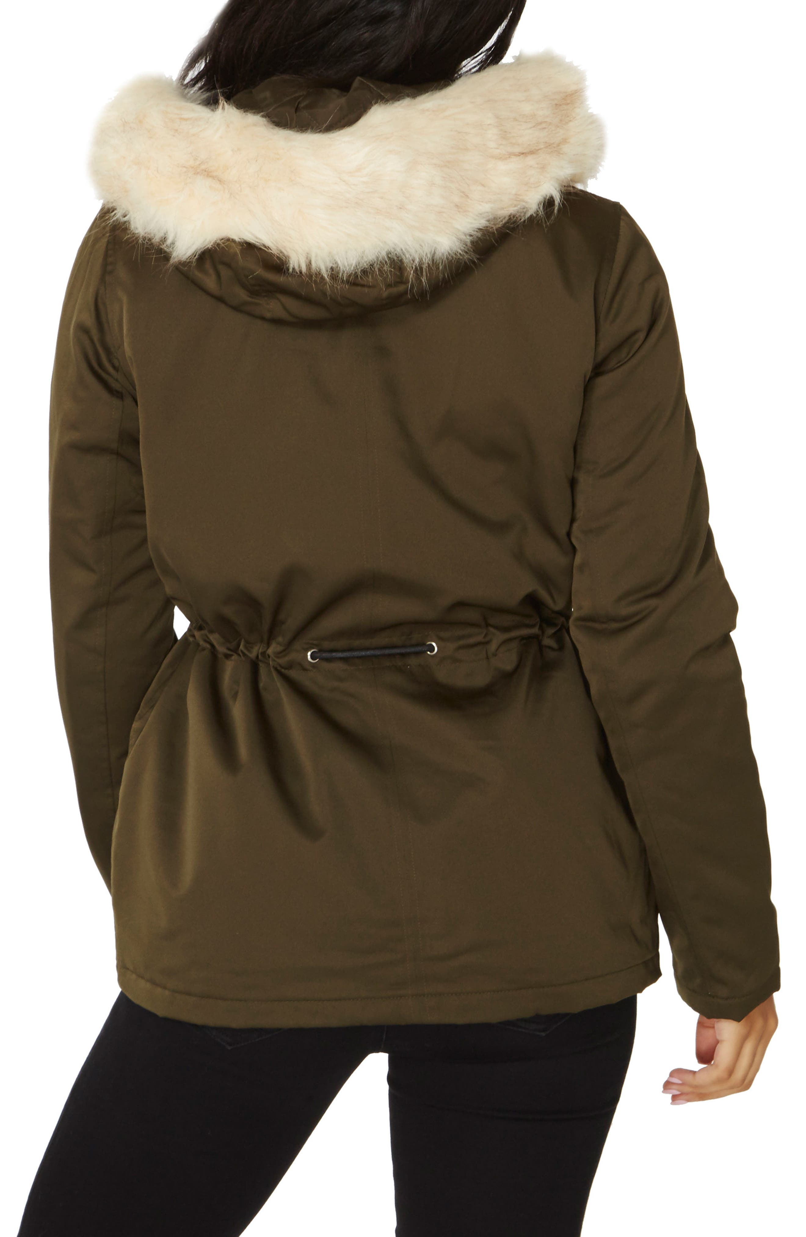 Alternate Image 3  - Dorothy Perkins Hooded Parka with Removable Faux Fur Trim