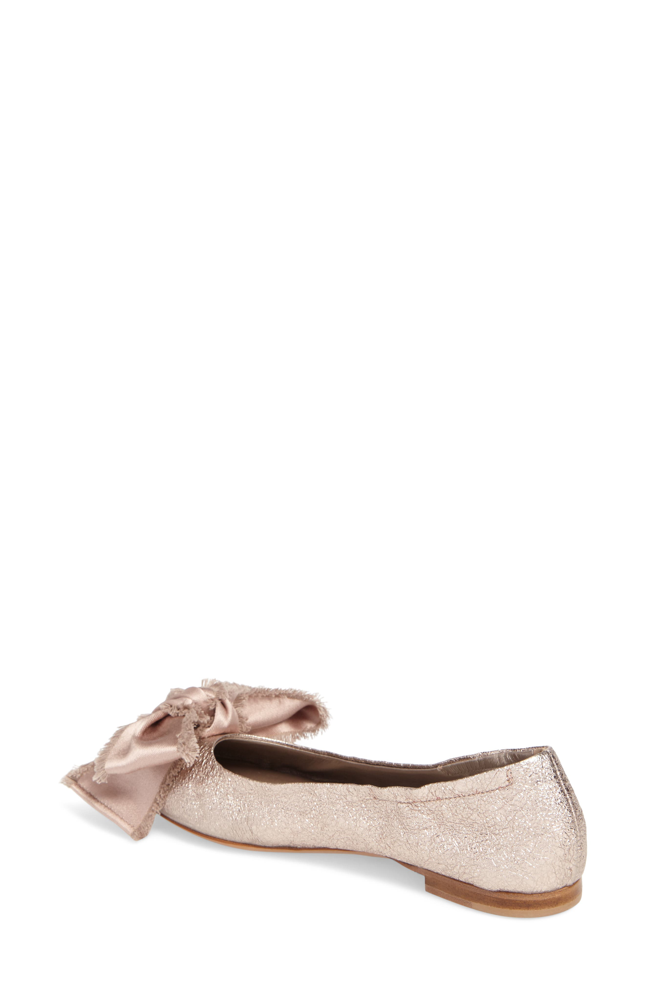 Satin Bow Ballet Flat,                             Alternate thumbnail 2, color,                             Pink Leather