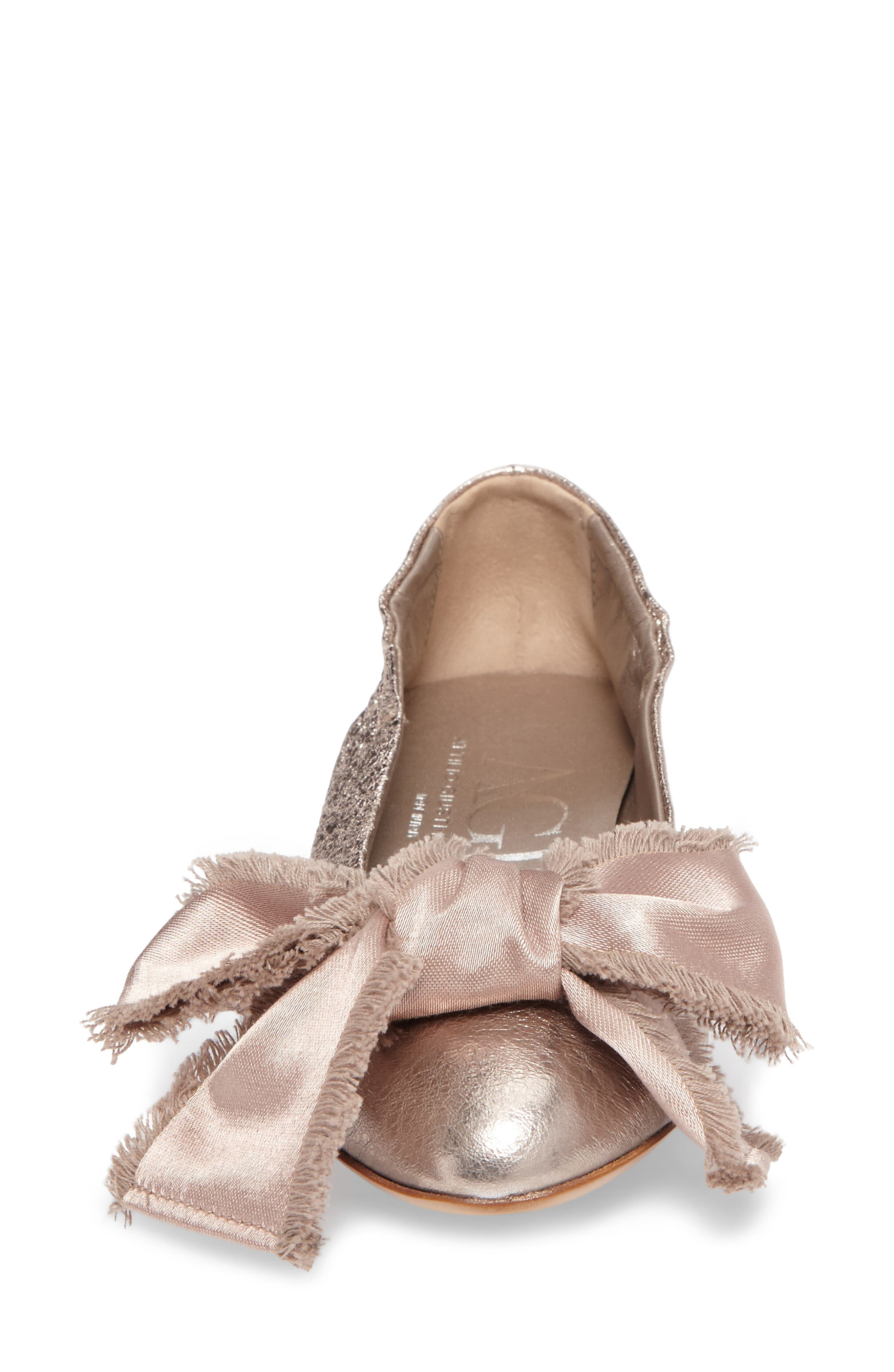 Satin Bow Ballet Flat,                             Alternate thumbnail 5, color,                             Pink Leather