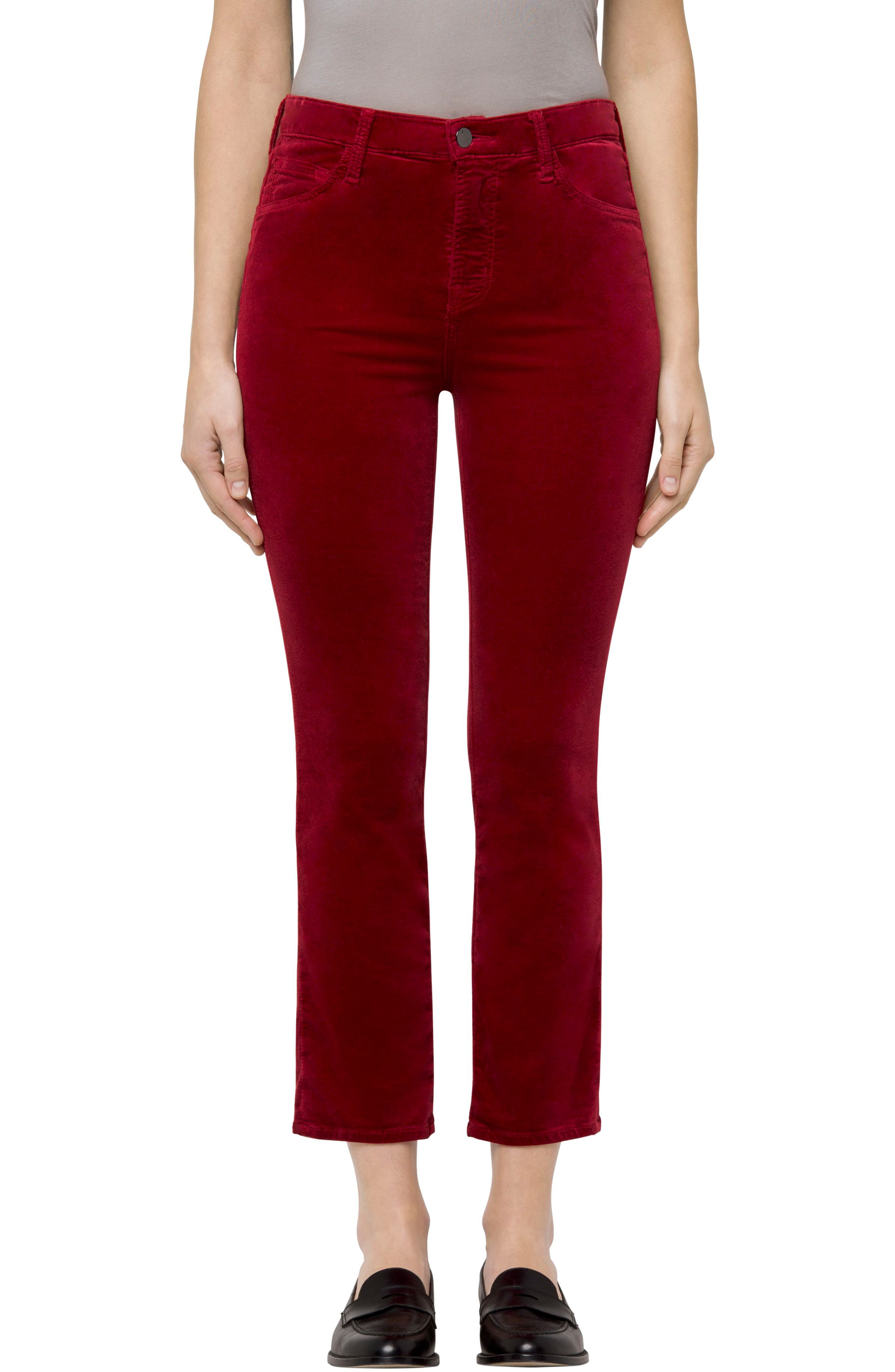 Ruby High Waist Crop Velvet Pants,                             Main thumbnail 1, color,                             Cherry