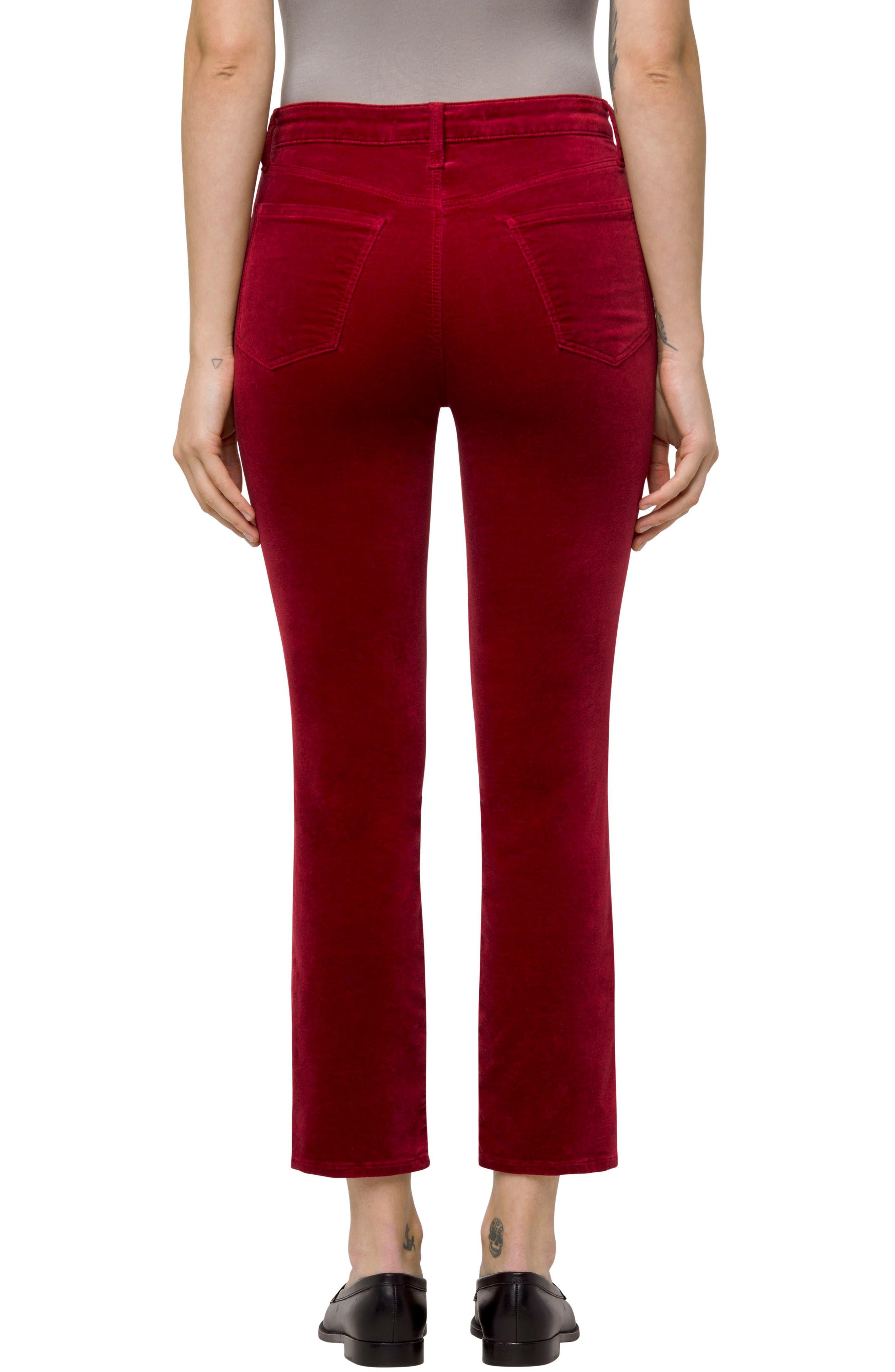 Ruby High Waist Crop Velvet Pants,                             Alternate thumbnail 2, color,                             Cherry