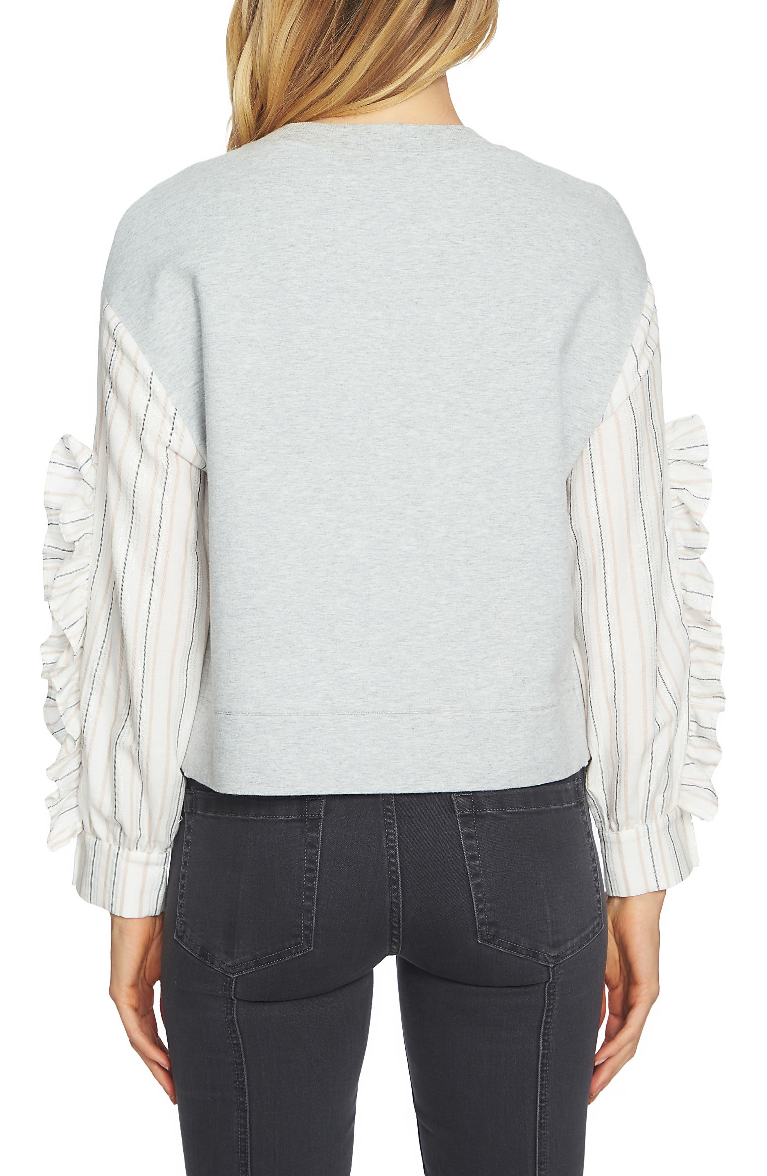 Stripe Ruffle Sleeve Sweater,                             Alternate thumbnail 2, color,                             Grey Heather