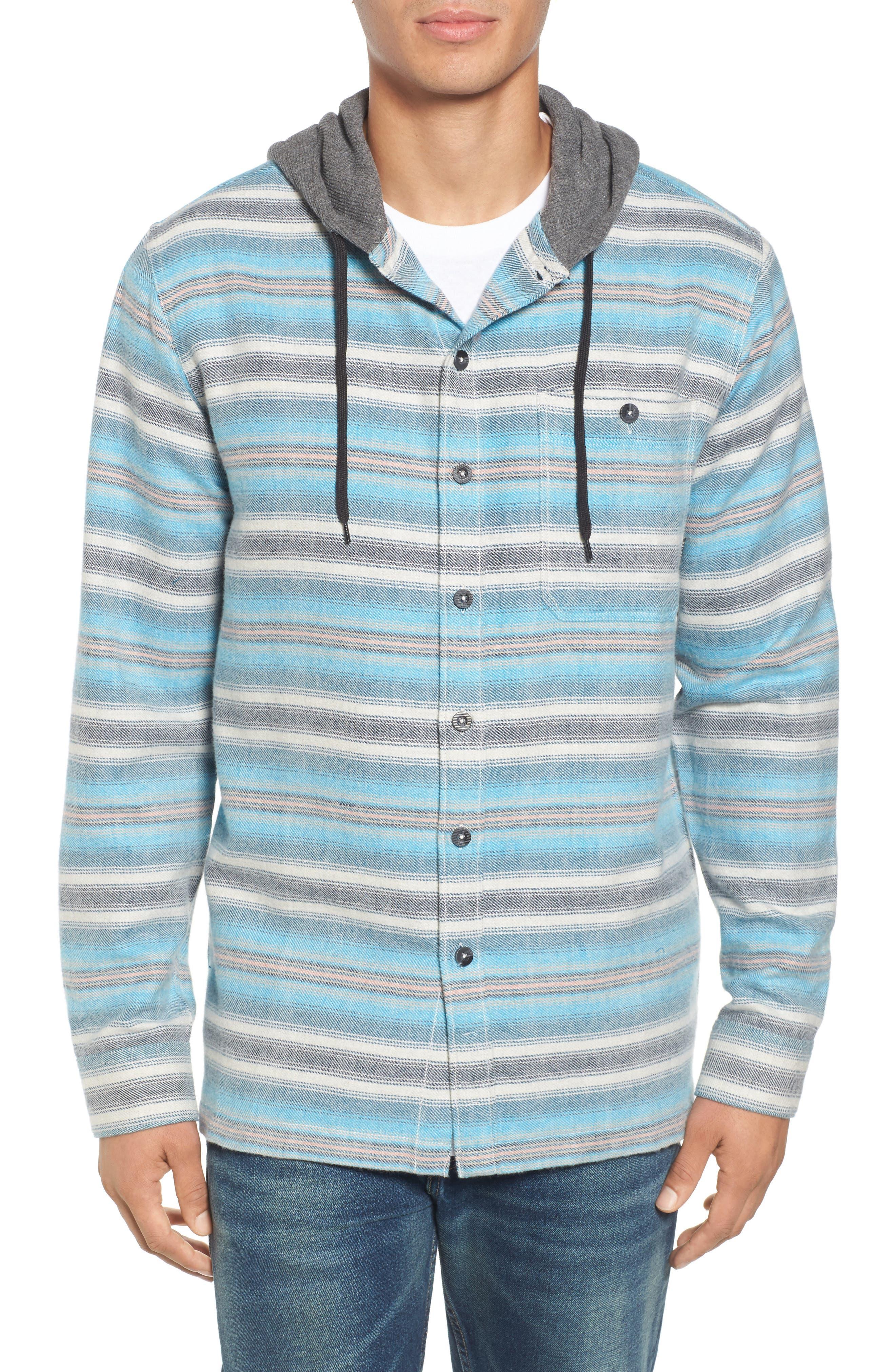 Baja Hooded Flannel Shirt,                             Main thumbnail 1, color,                             Stone