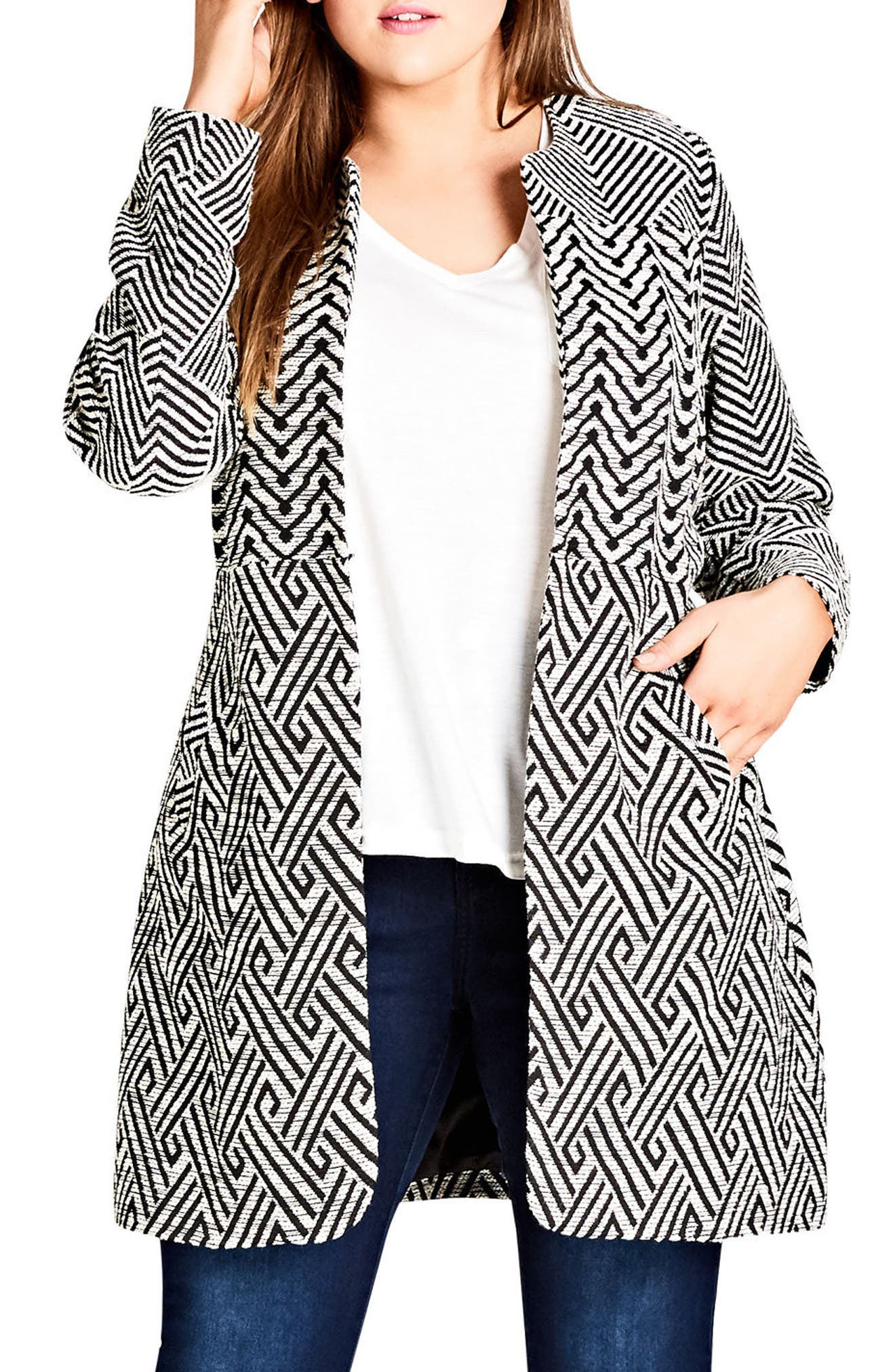 City Chic Follow Me Geo Print Coat (Plus Size)