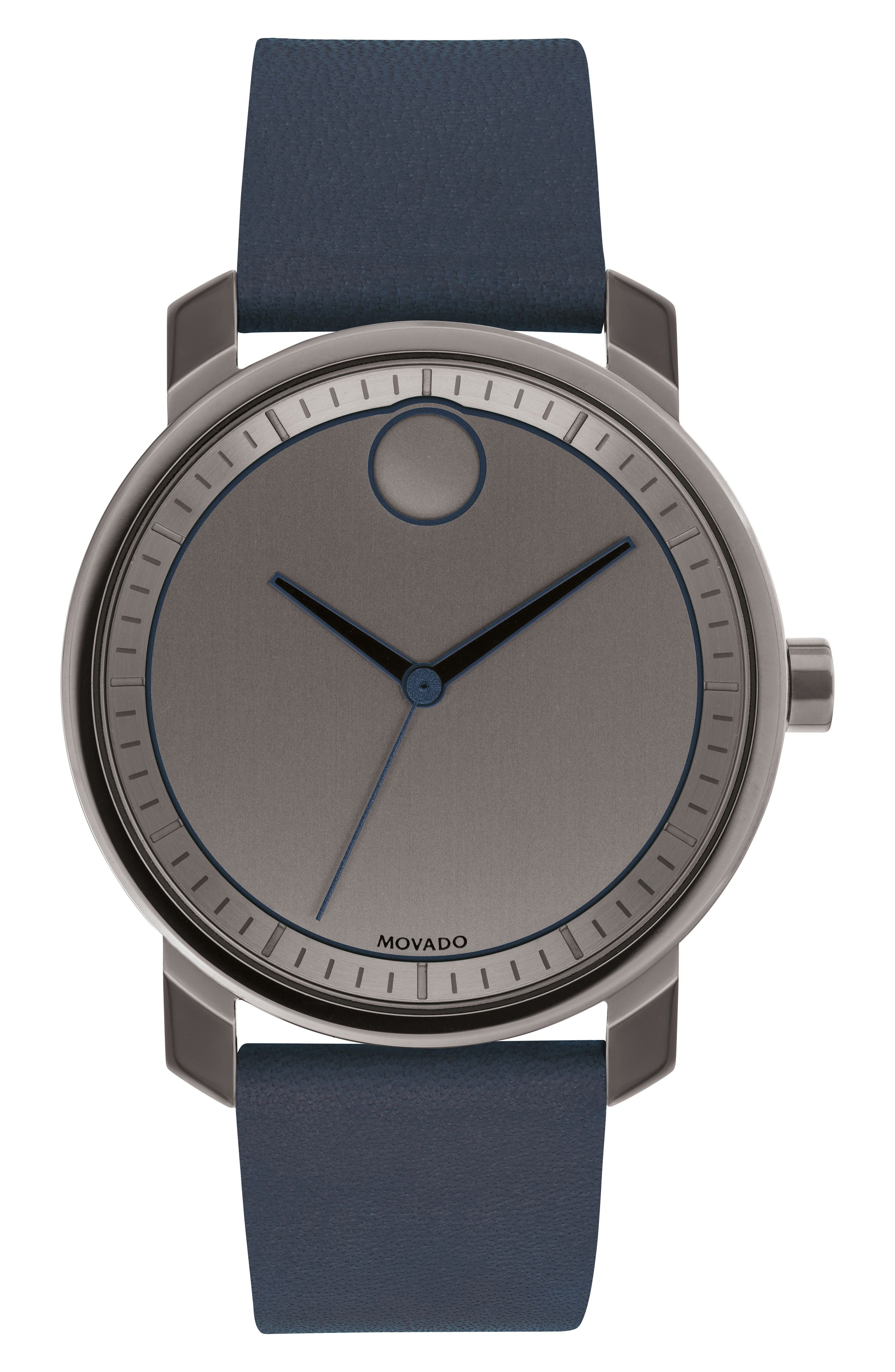 Main Image - Movado Bold Leather Strap Watch, 41mm