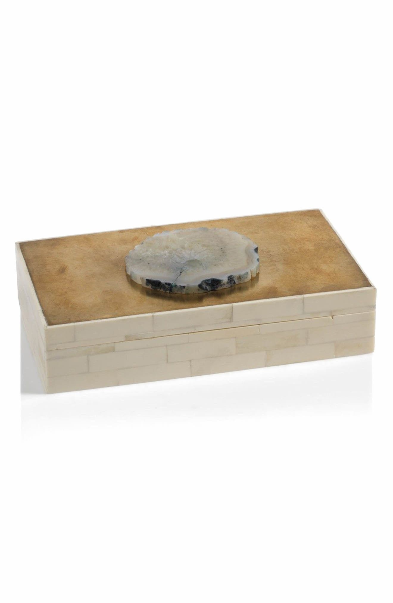 Bali Bone & Agate Jewelry Box,                         Main,                         color, Off-White