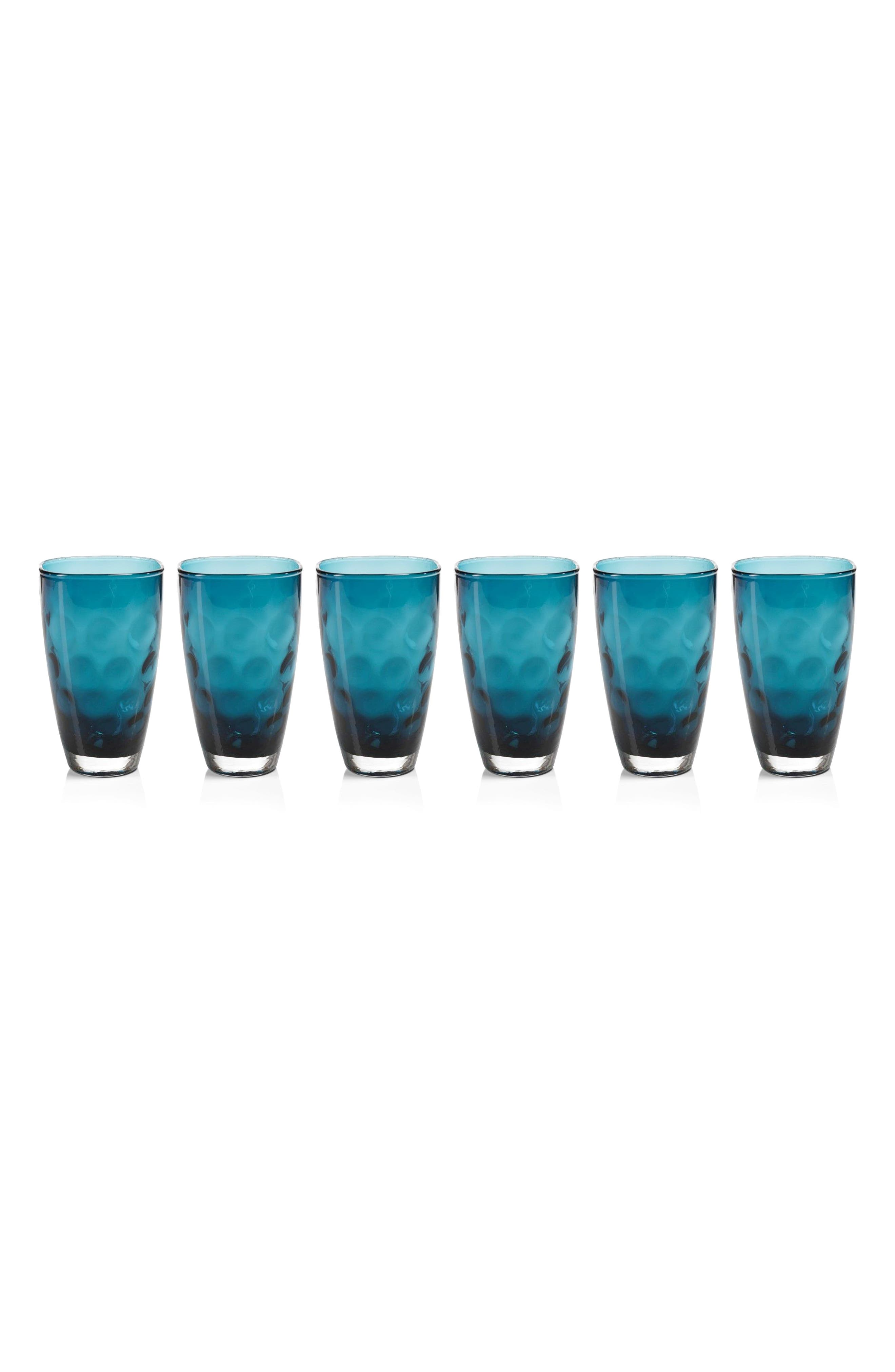 Dimpled Set of 6 Highball Glasses,                         Main,                         color, Blue