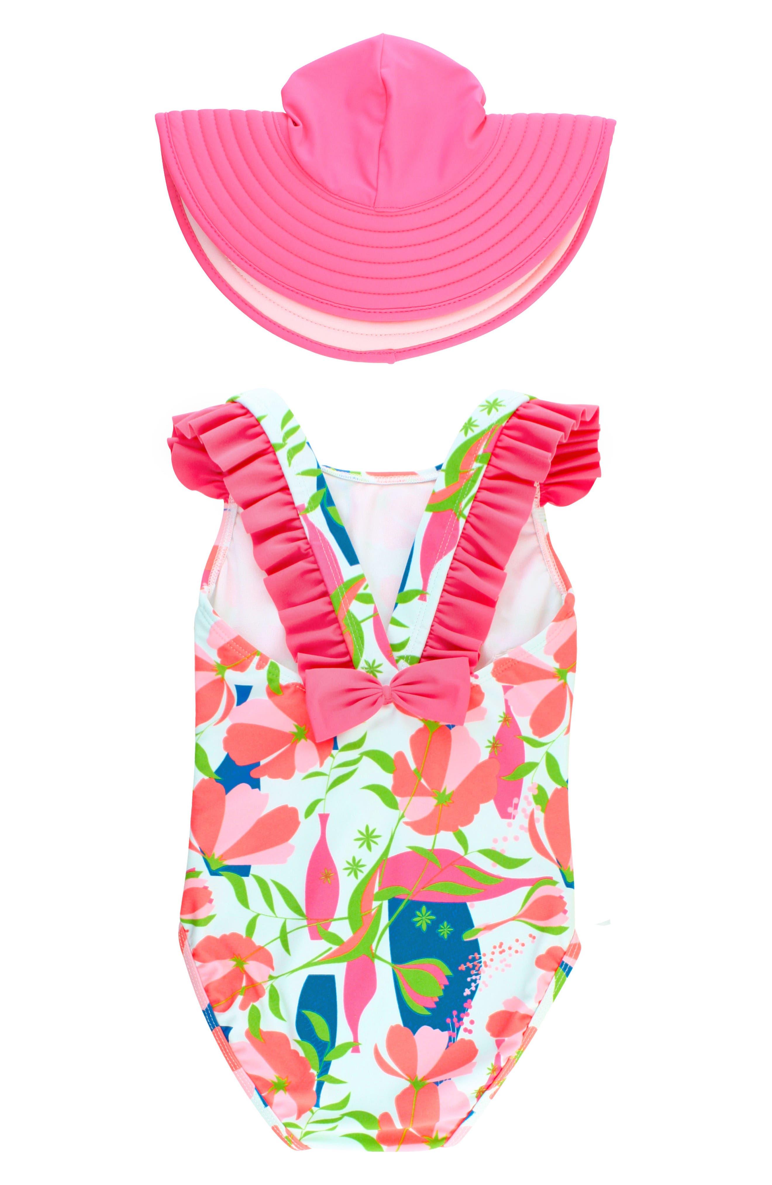 One-Piece Swimsuit & Hat Set,                             Alternate thumbnail 2, color,                             Pink