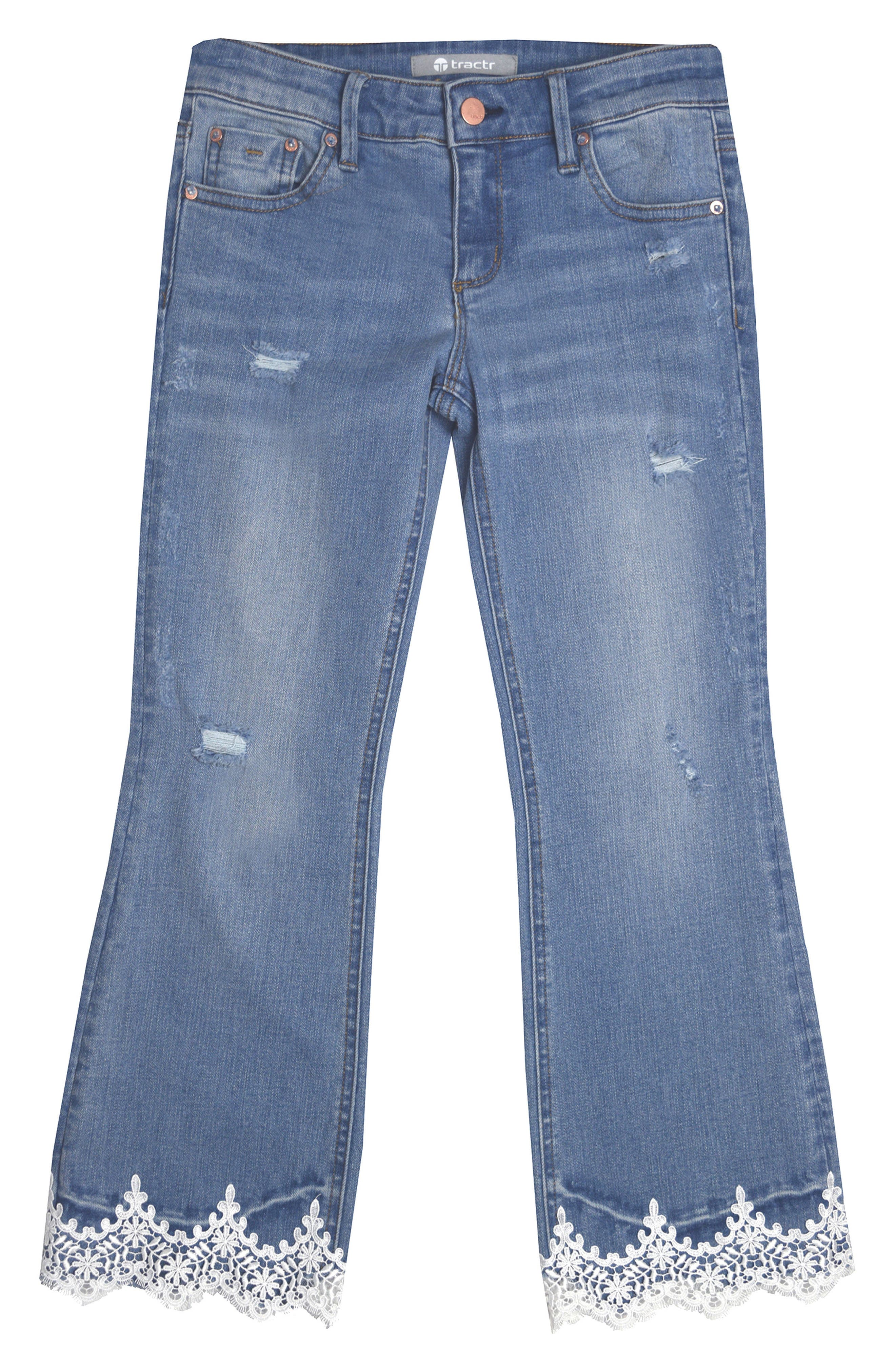 Alternate Image 1 Selected - Tractr Lace Hem Jeans (Big Girls)