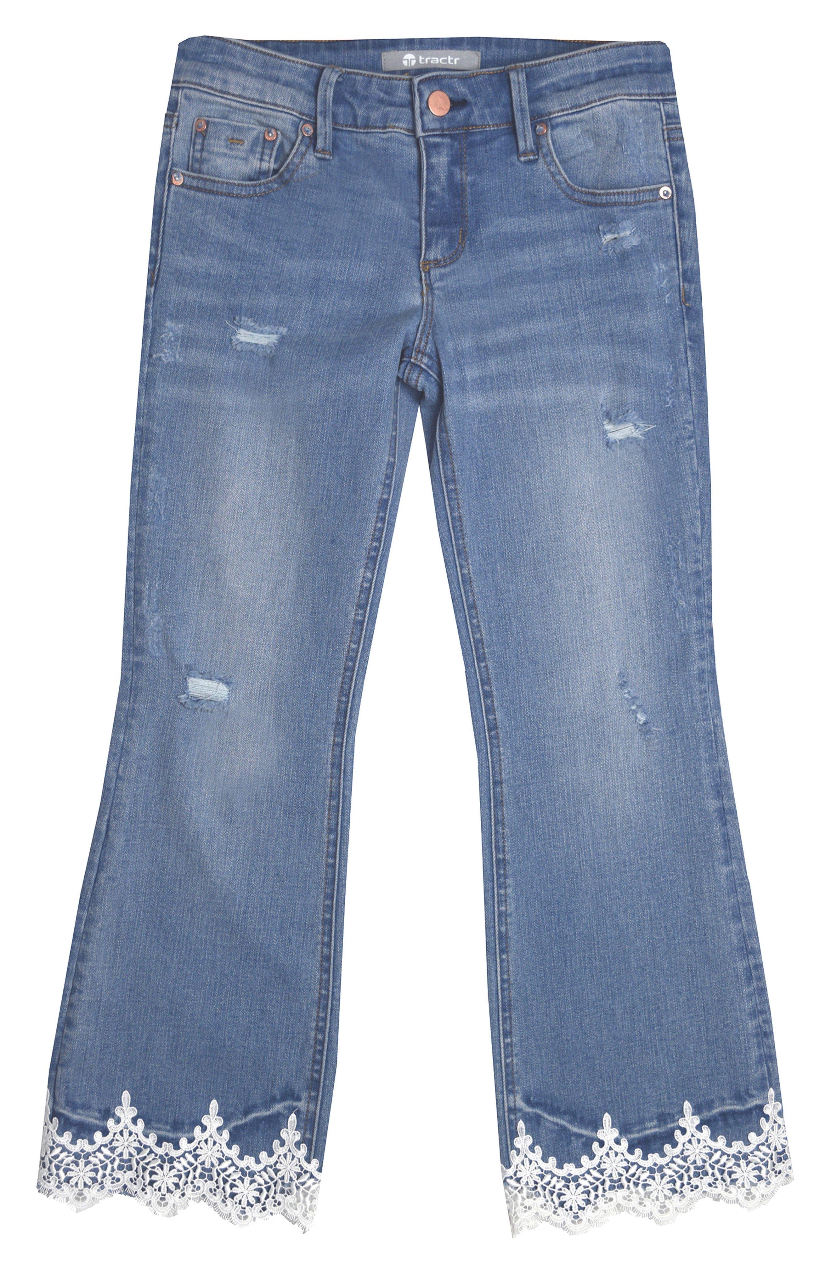 Lace Hem Jeans,                         Main,                         color, Indigo