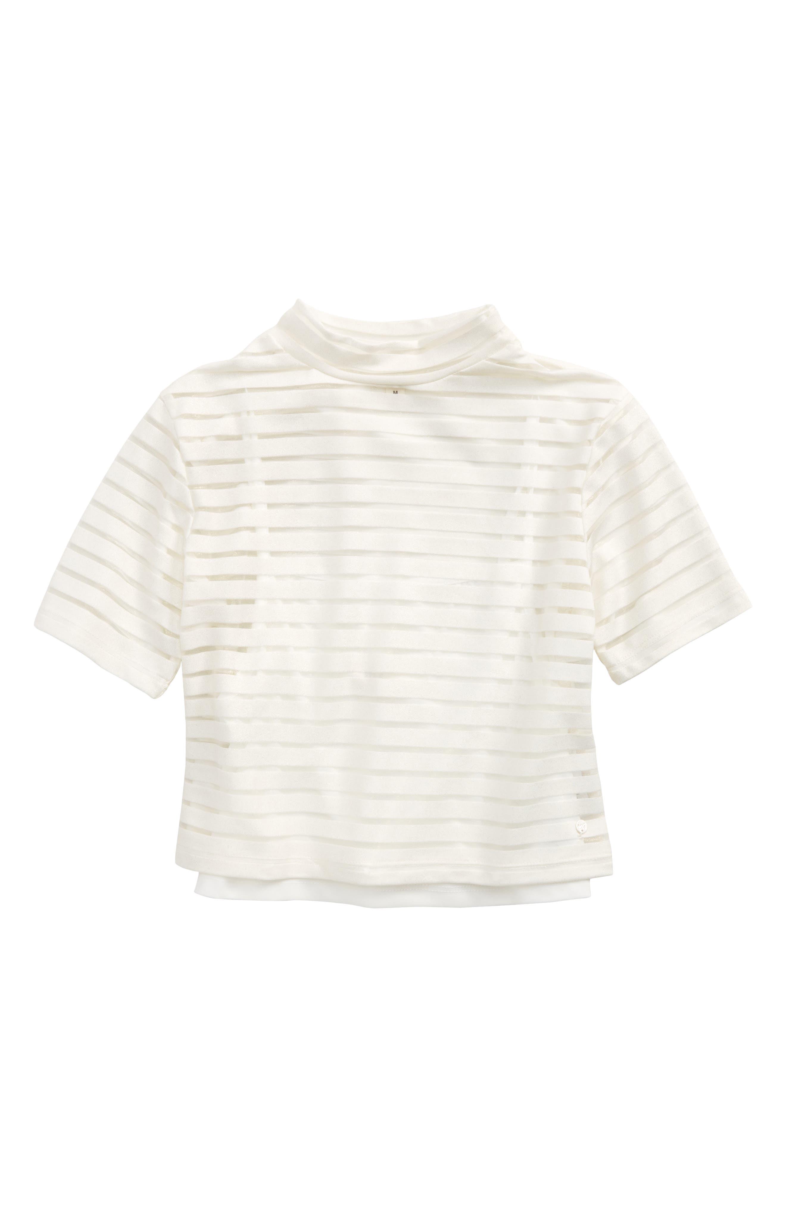 Mock Neck Burnout Top,                         Main,                         color, White