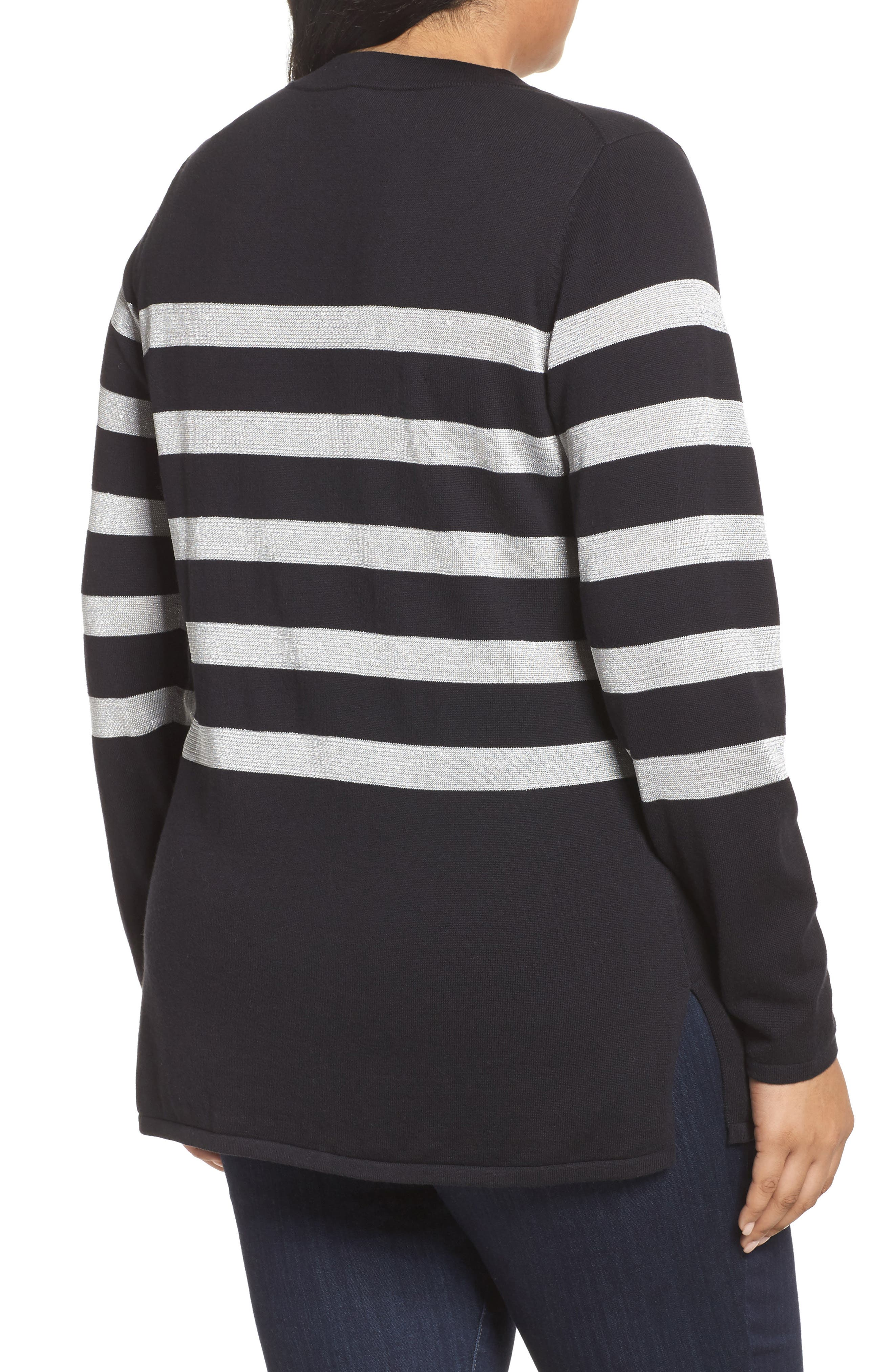 Chain Lace-Up Stripe Sweater,                             Alternate thumbnail 2, color,                             Black