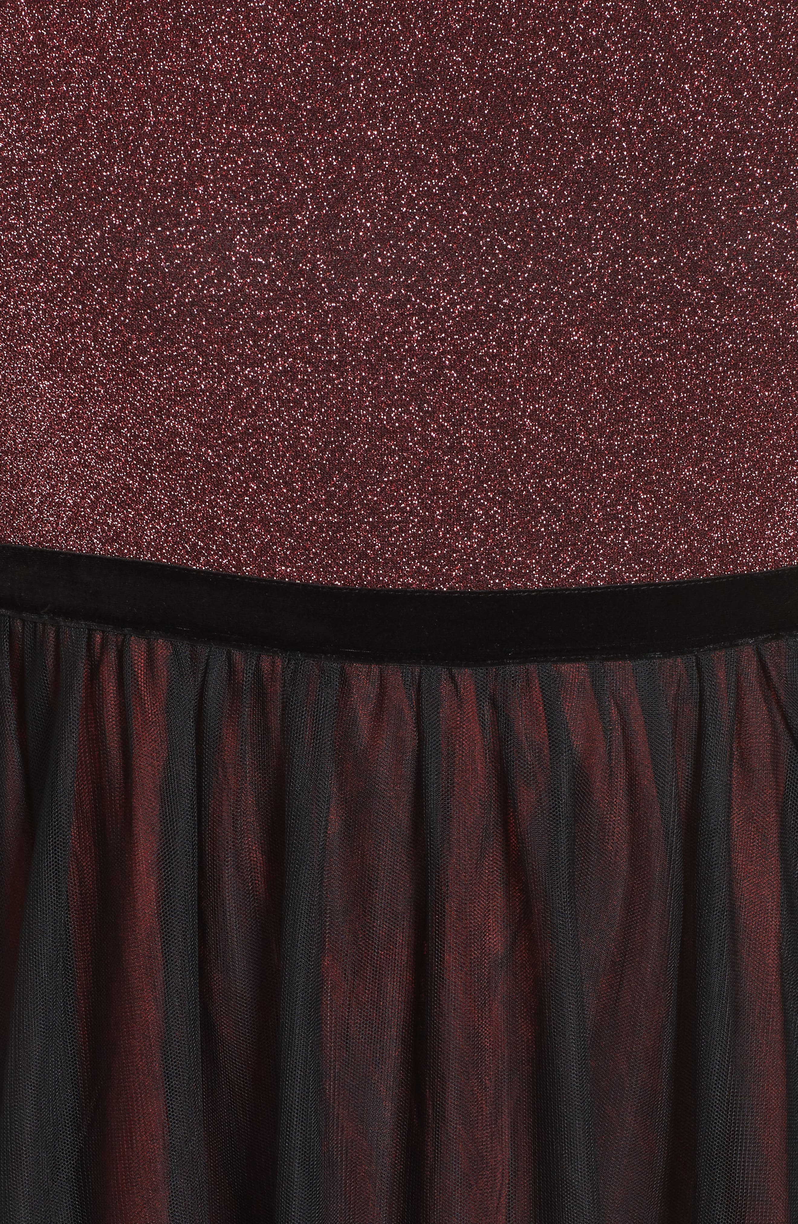 Metallic Knit & Tulle A-Line Gown,                             Alternate thumbnail 5, color,                             Black/ Berry