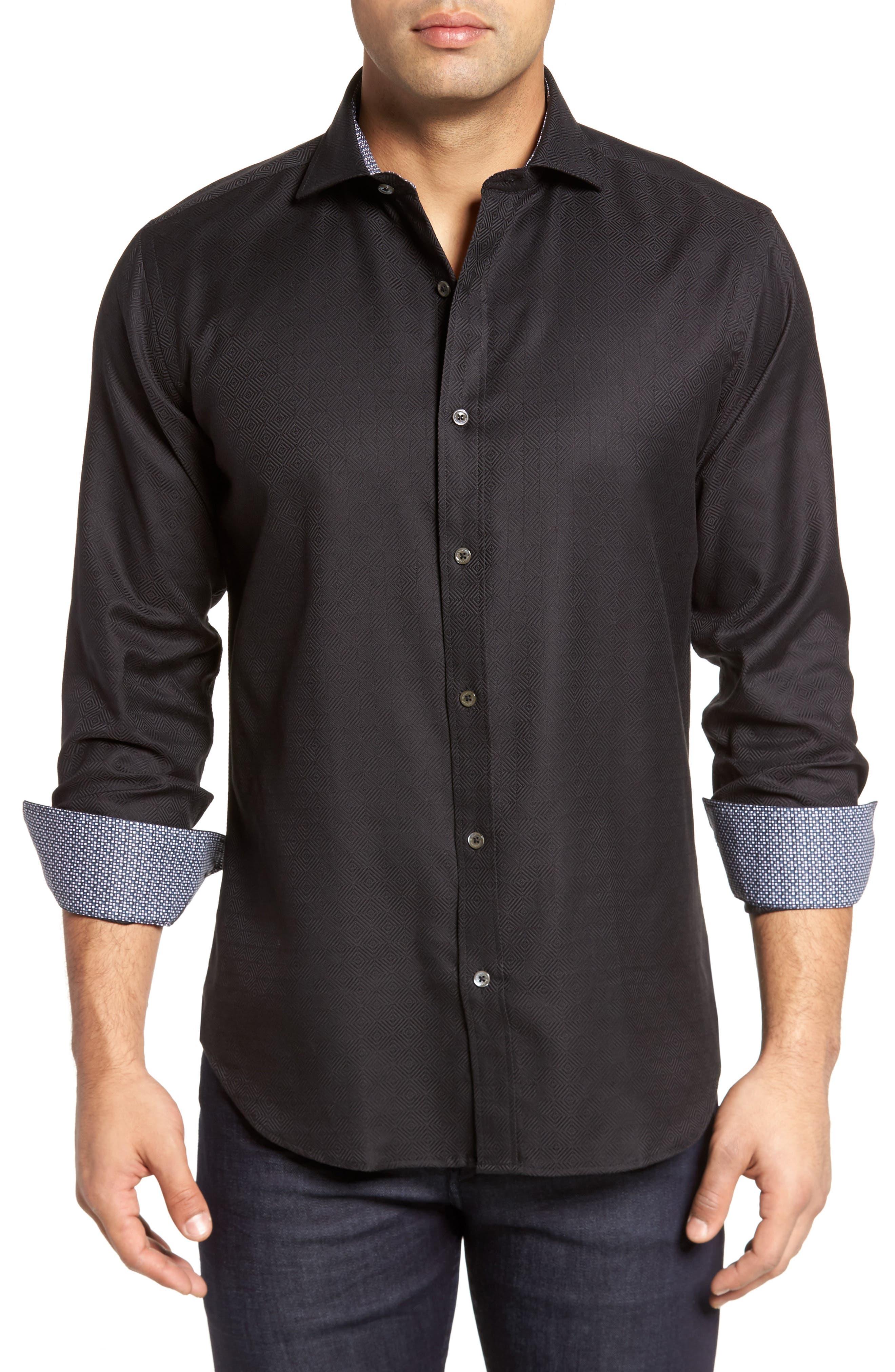 Slim Fit Diamond Jacquard Sport Shirt,                             Main thumbnail 1, color,                             Black
