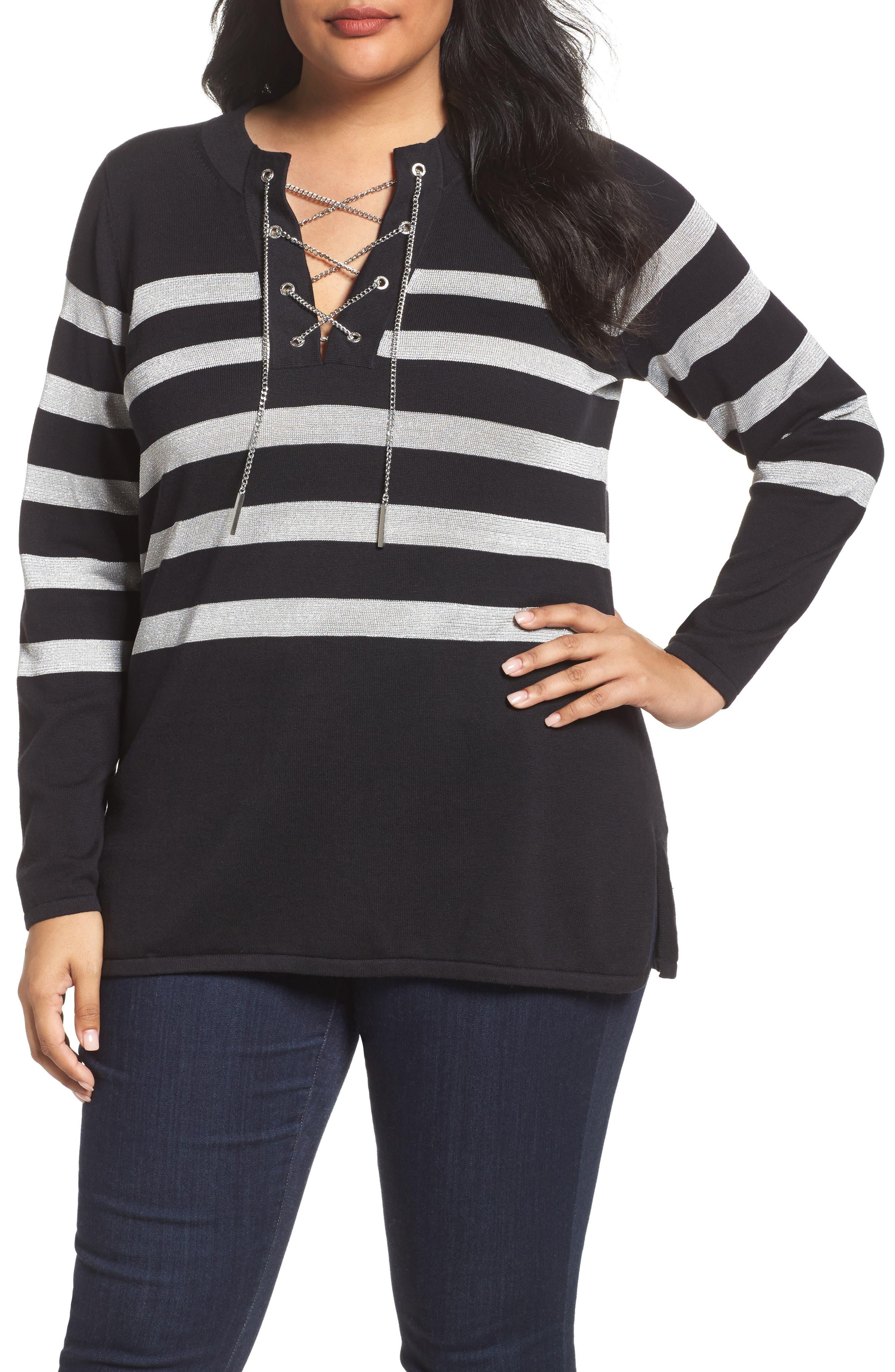Chain Lace-Up Stripe Sweater,                         Main,                         color, Black