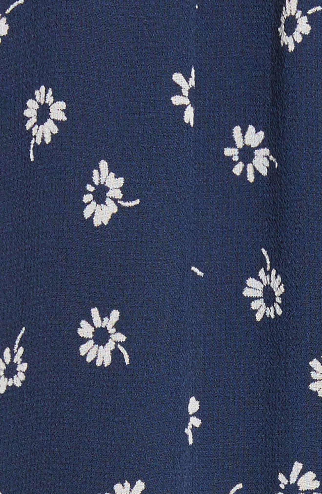 Alithea Print Silk Asymmetrical Dress,                             Alternate thumbnail 5, color,                             Dark Navy