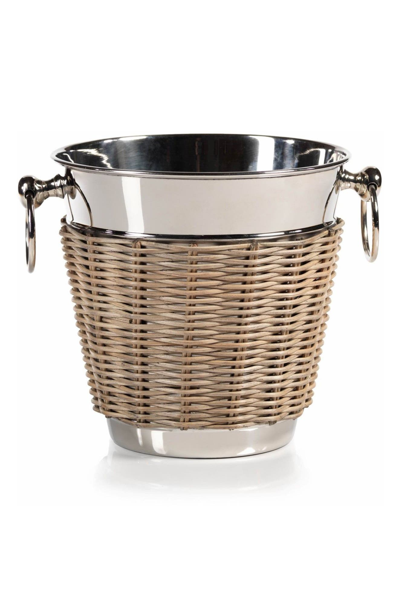 Wicker Ice Bucket,                         Main,                         color, Silver/ Tan