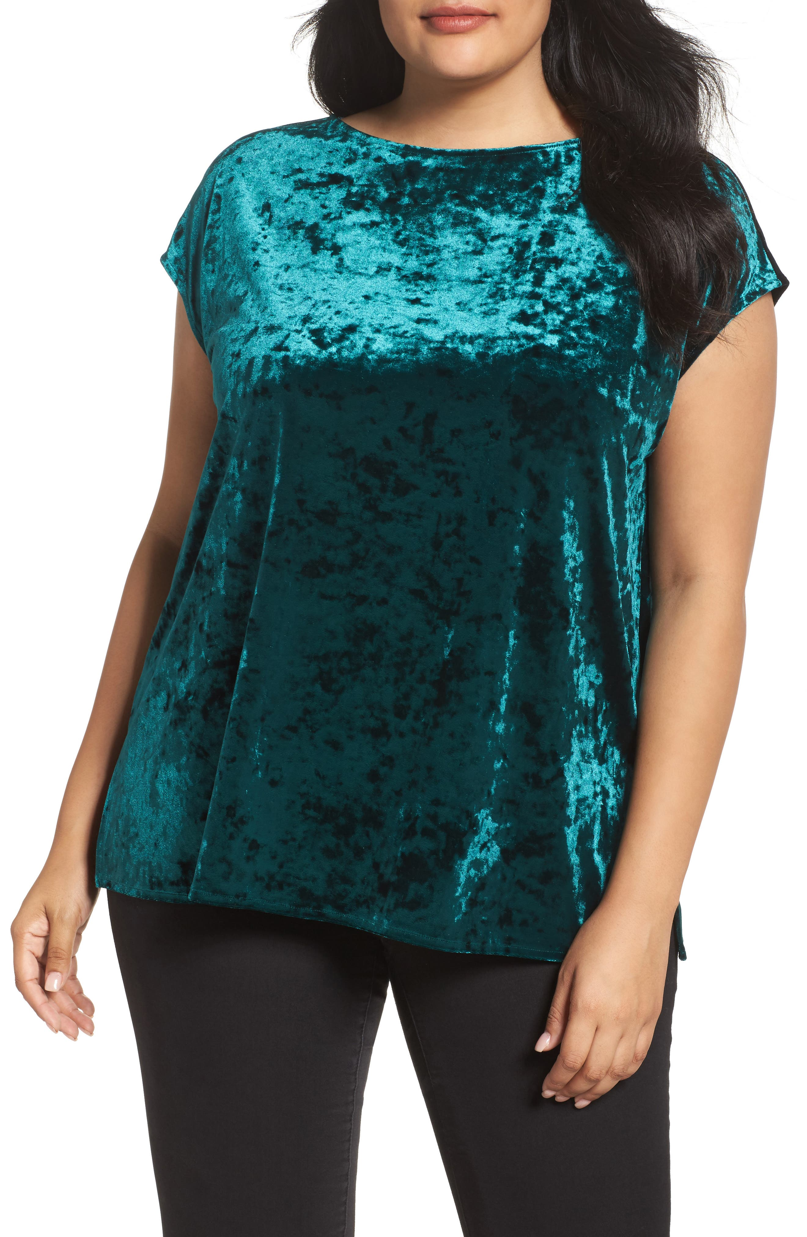 Vince Camuto Crushed Velvet Top (Plus Size)