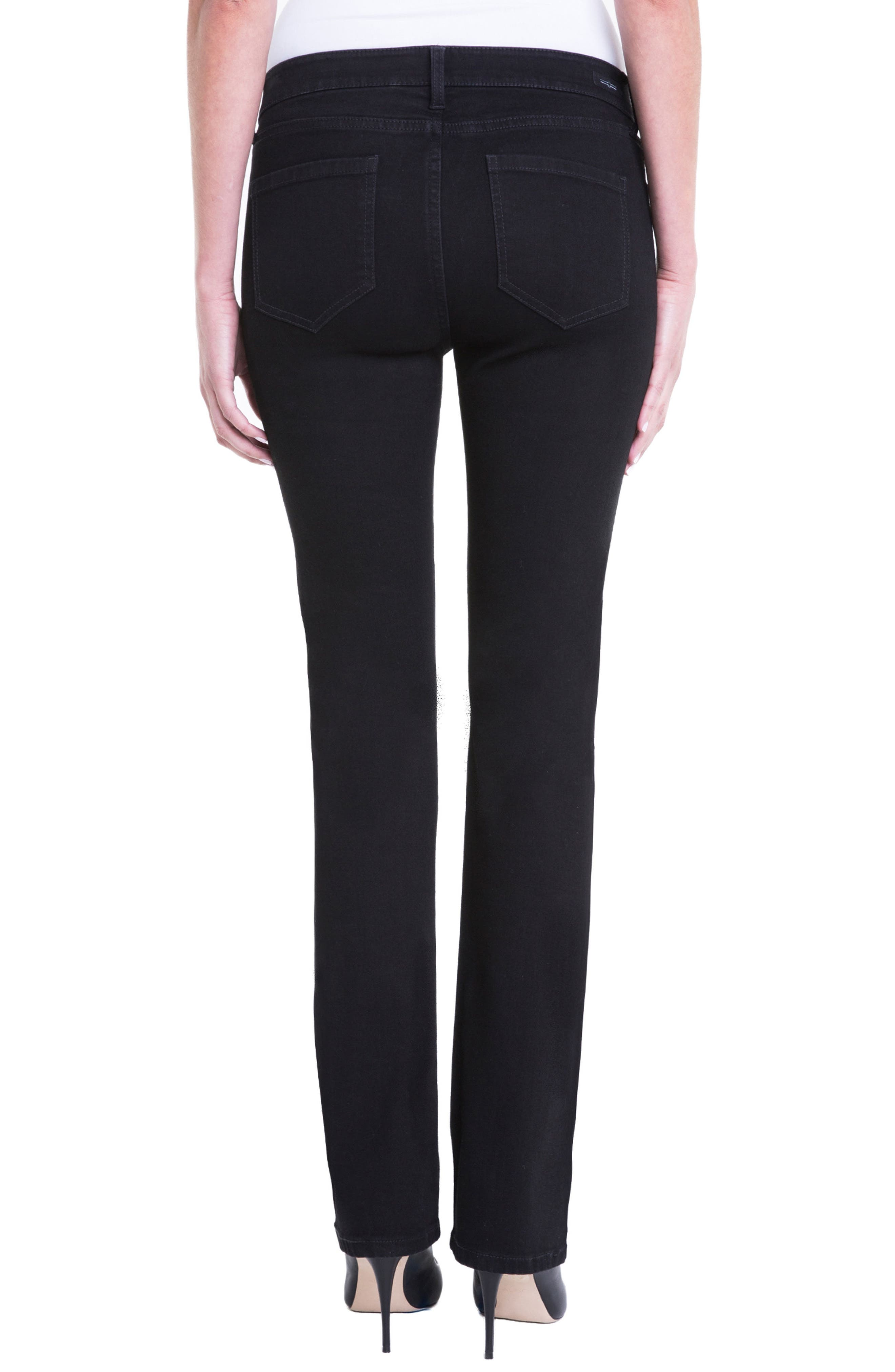 Sadie Mid Rise Stretch Straight Jeans,                             Alternate thumbnail 2, color,                             Black Rinse