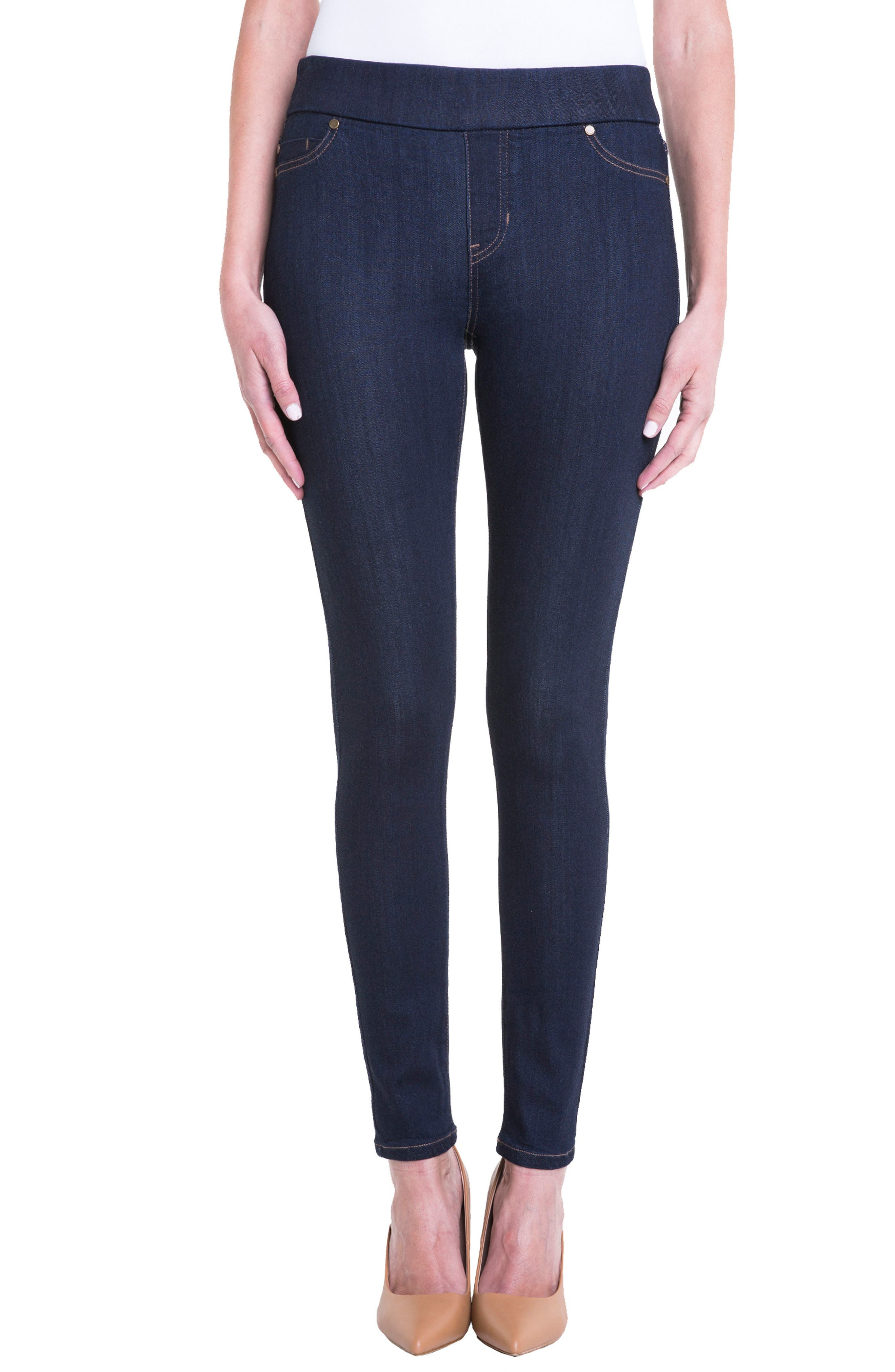 Sienna Mid Rise Soft Stretch Denim Leggings,                         Main,                         color, Indigo Rinse