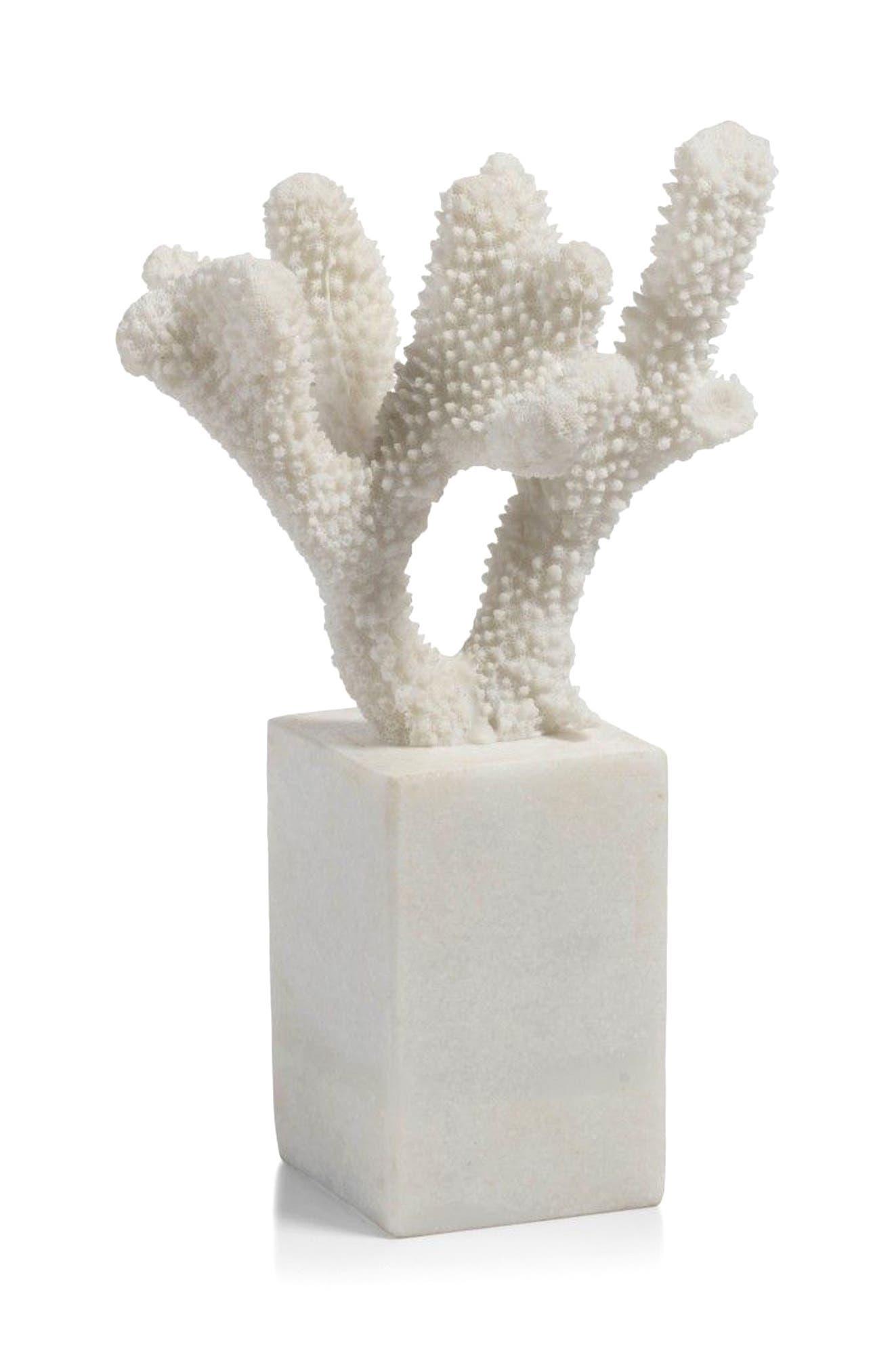 Morgana Pedestal Base Coral Sculpture,                         Main,                         color, White