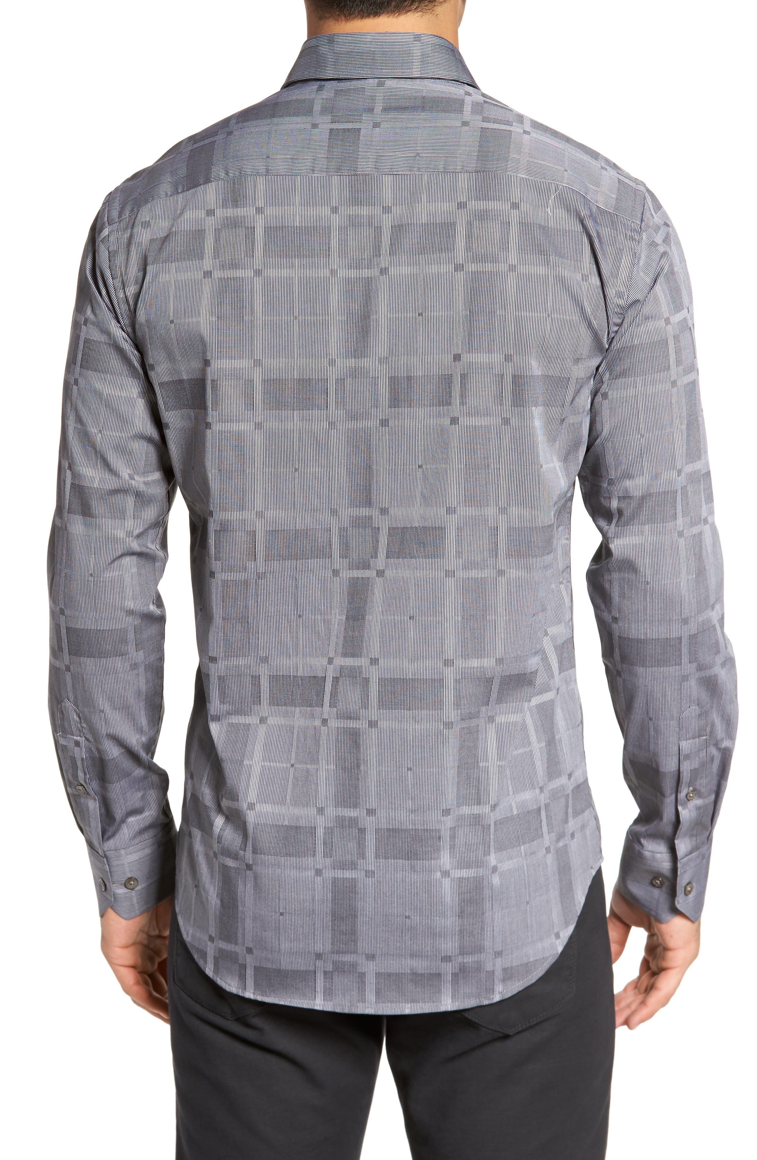 Slim Fit Microstripe Plaid Sport Shirt,                             Alternate thumbnail 2, color,                             Graphite