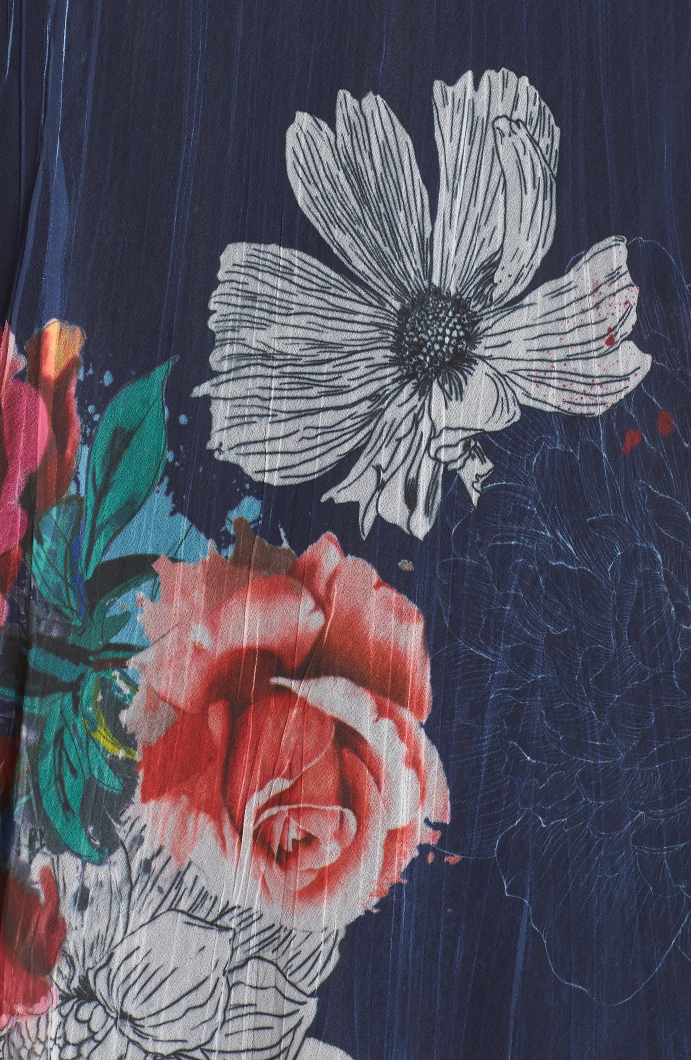 V-Neck Floral Print Chiffon Dress,                             Alternate thumbnail 5, color,                             Watercolor Fields