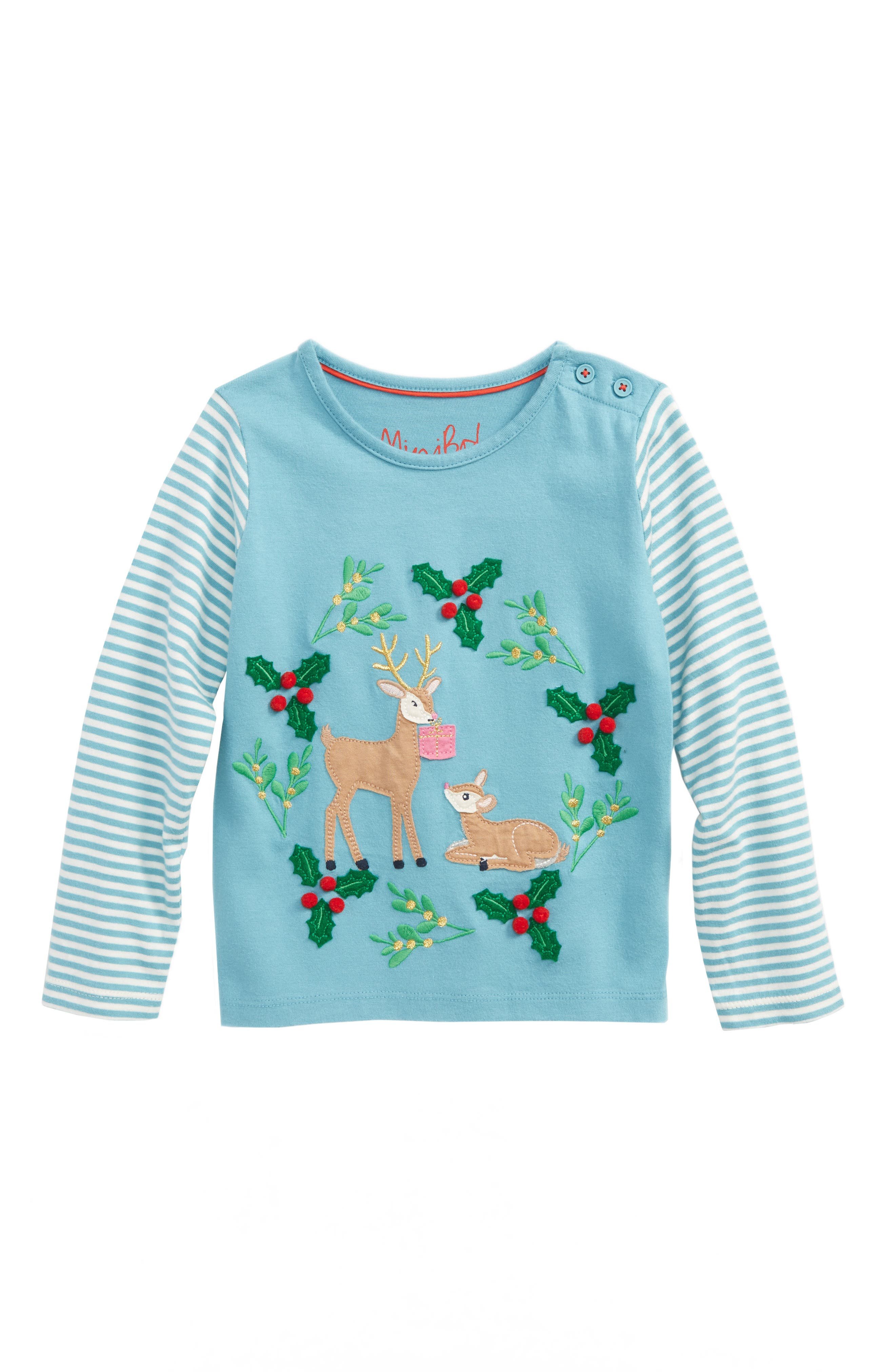 Mini Boden Festive Animals Tee (Toddler Girls, Little Girls & Big Girls)