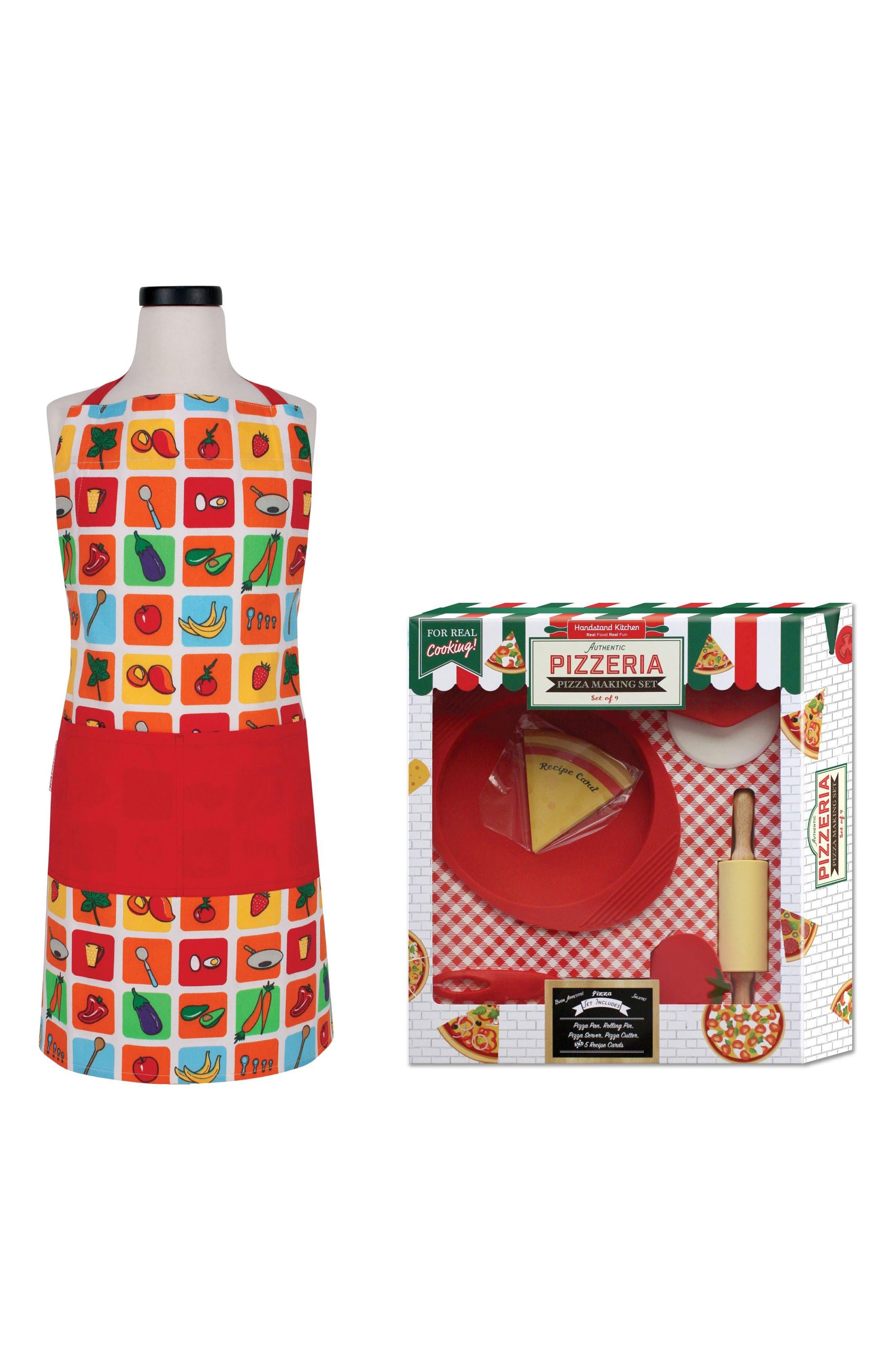 Handstand Kids Apron & Pizza Making Kit Gift Set,                             Main thumbnail 1, color,                             Blue