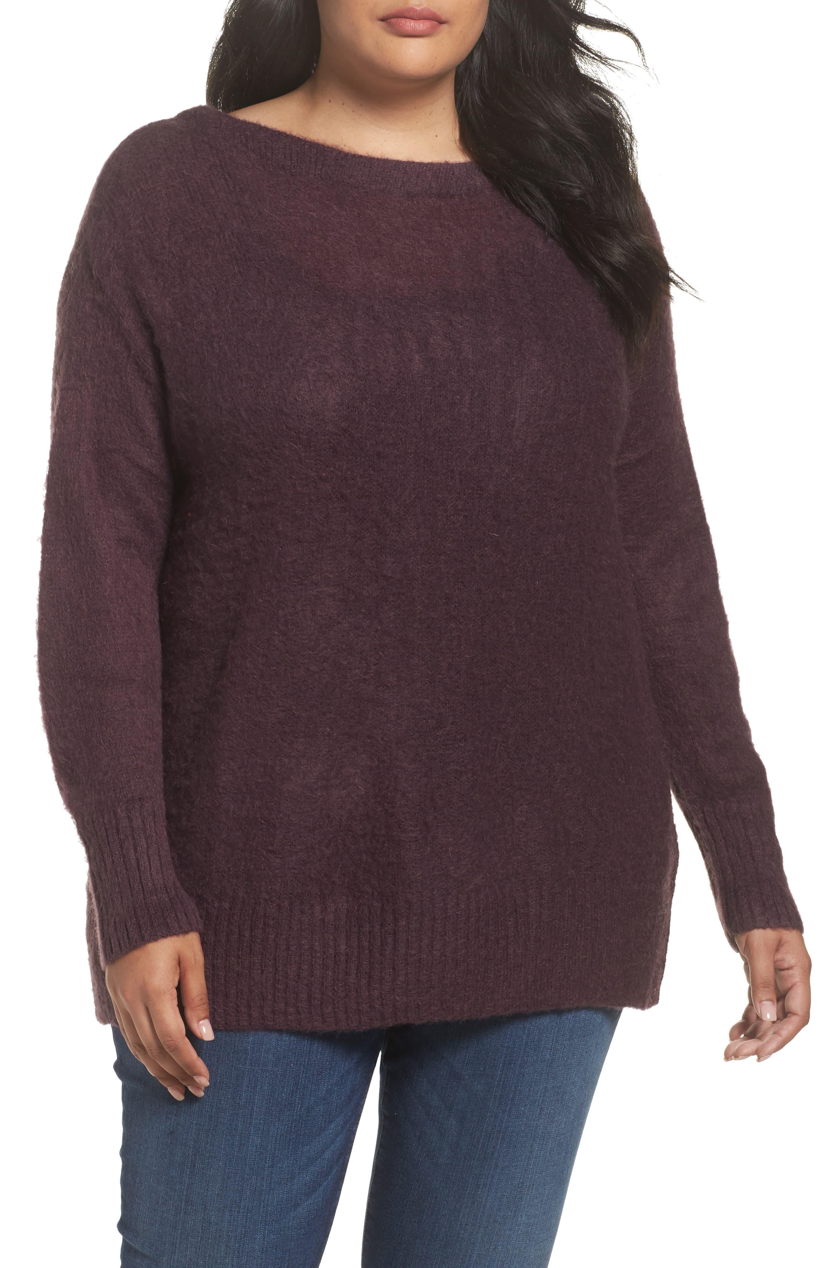 Long Sleeve Brushed Sweater,                         Main,                         color, Purple Plum