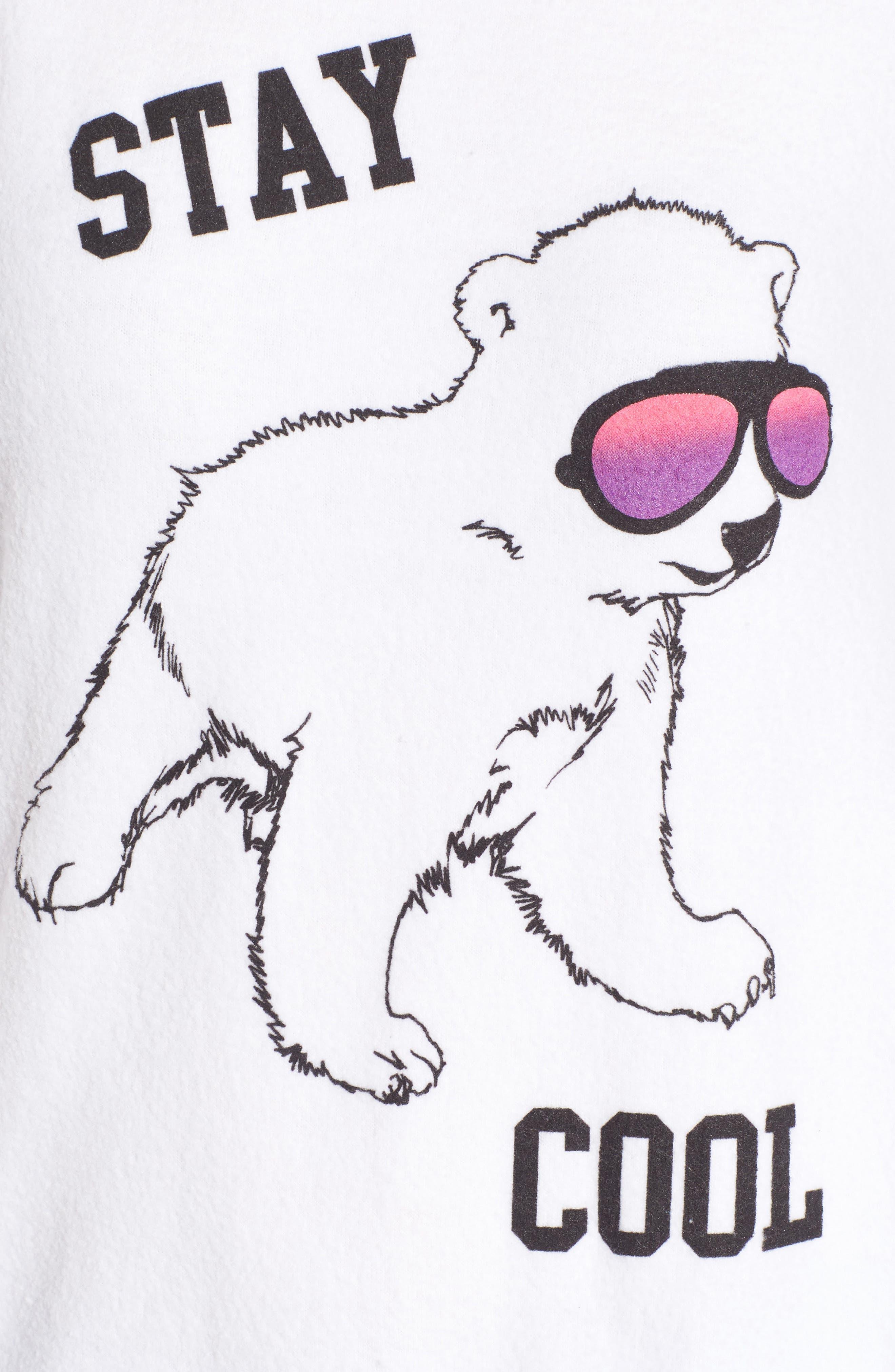 Stay Cool Polar Bear Sweatshirt,                             Alternate thumbnail 5, color,                             Clean White