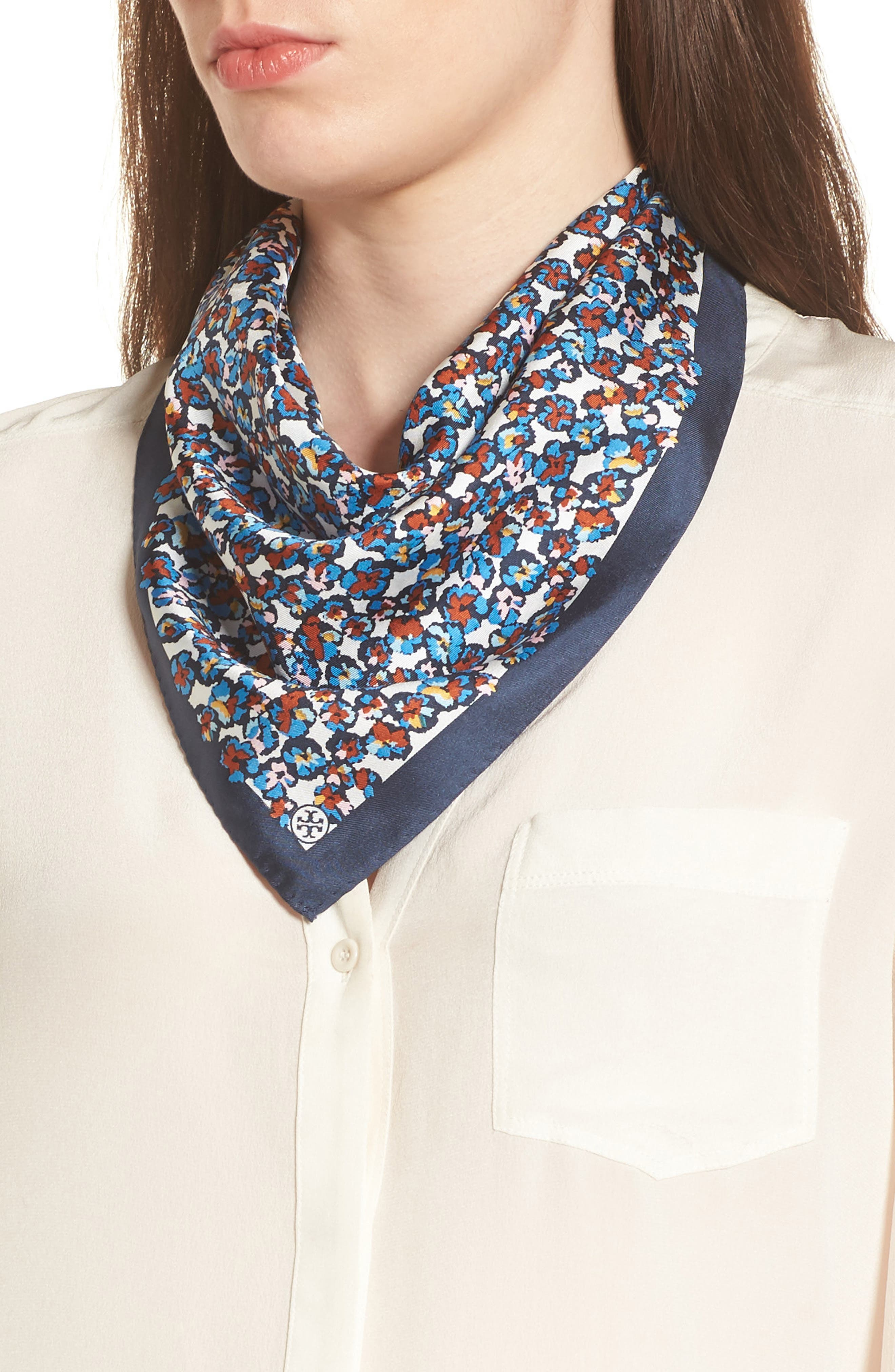 Carnation Neckerchief Silk Scarf,                         Main,                         color, Blue Carnation