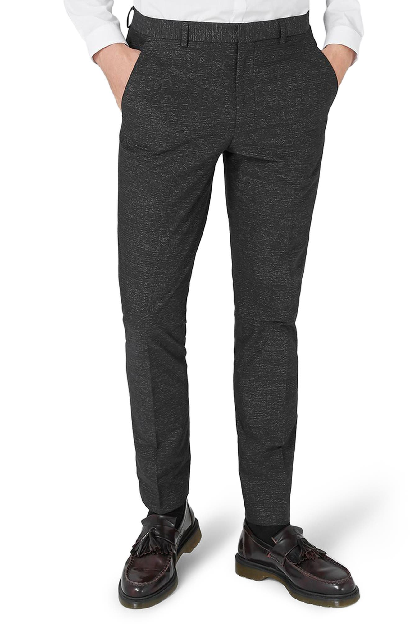 Skinny Fit Stripe Cotton Suit Pants,                             Main thumbnail 1, color,                             Black