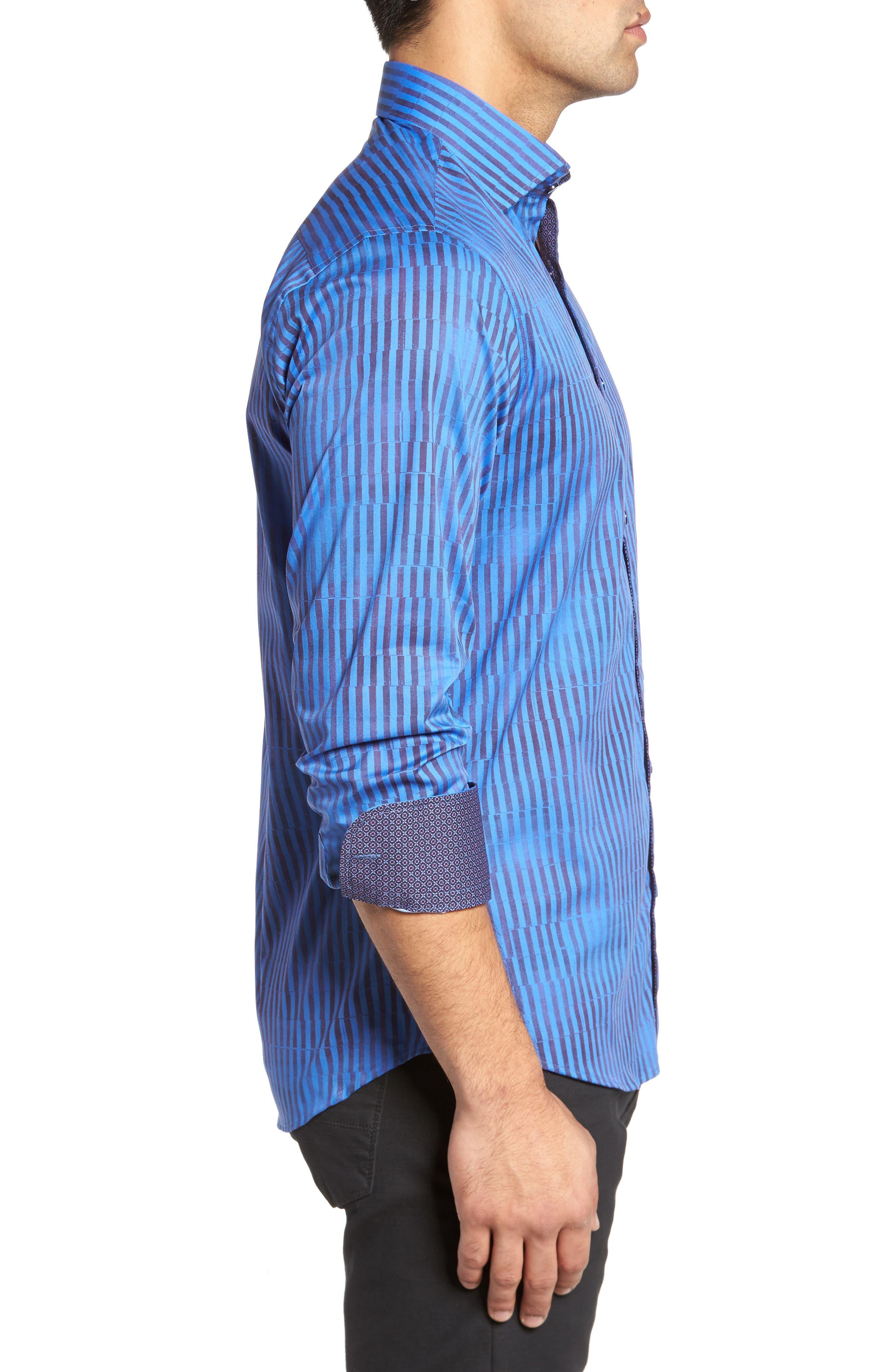 Bold FX Stripe Print Sport Shirt,                             Alternate thumbnail 3, color,                             Electric Blue